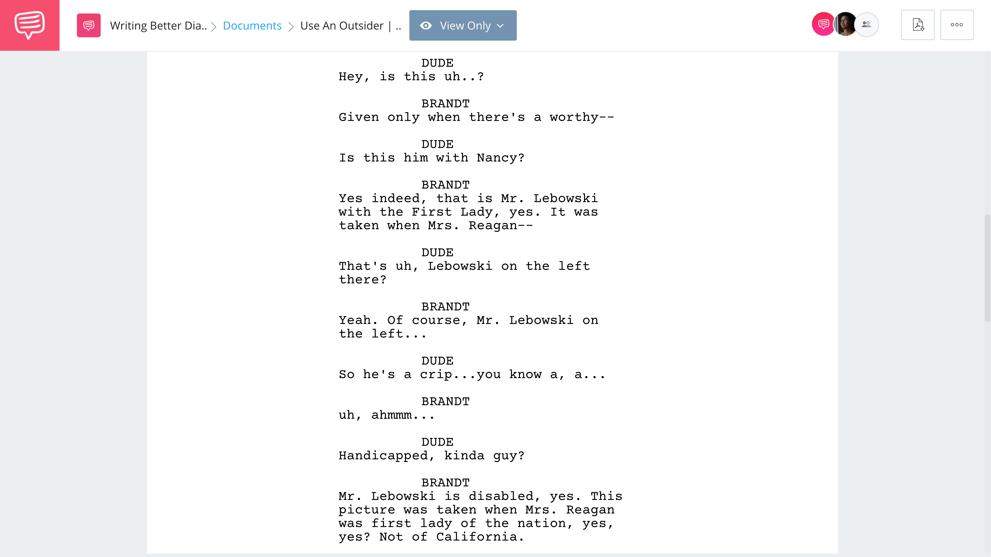 Screenwriting Tips for Better Movie Dialogue - The Big Lebowski - Brandt and the Dude - StudioBinder Screenwriting Software