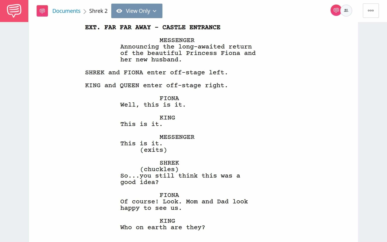 Shrek 2 PDF Script Breakdown - Royal Introduction Scene Download App Tie-In - StudioBinder