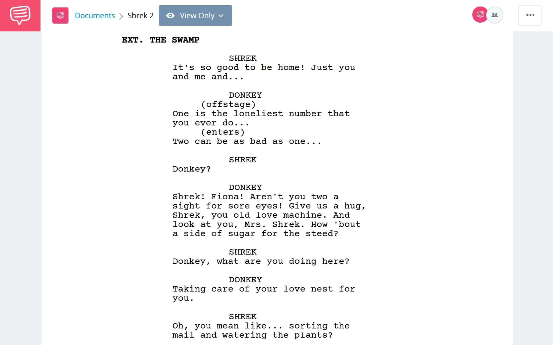 Shrek 2 PDF Script Teardown - Full Script Download App Tie-In- StudioBinder