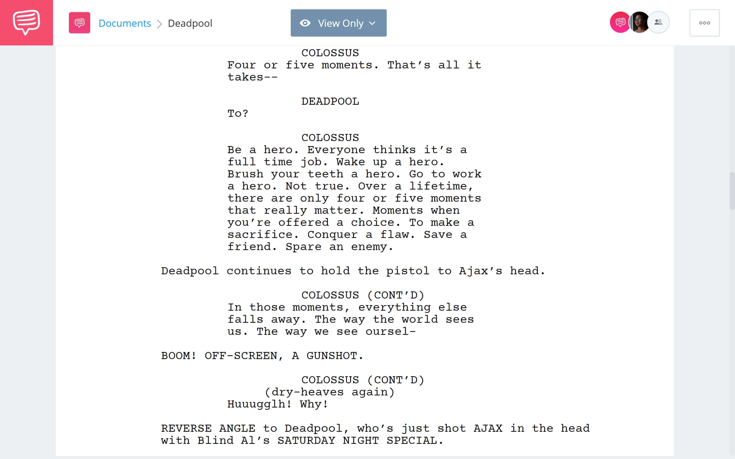 What is Black Comedy -Gun Shot in Deadpool - Studiobinder Screenwriting Software