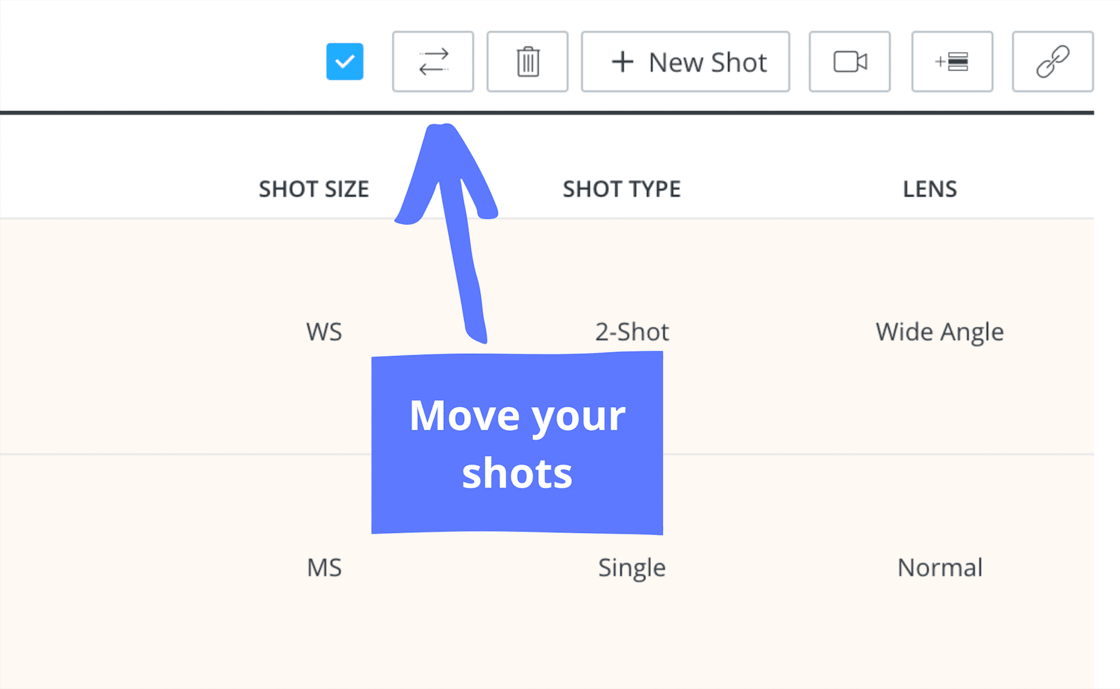 Film Coverage - Shot List Storyboard - Move Button
