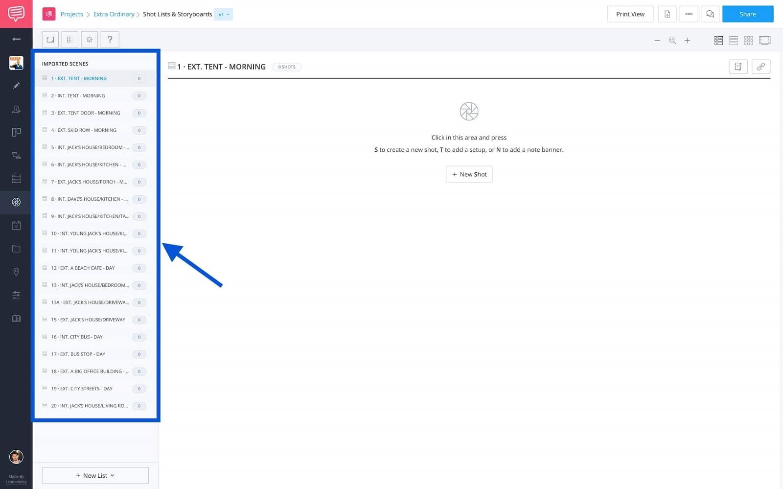 How to Shot List Faster in StudioBinder - Imported Scenes Sidebar - Studio Binder Shot Listing Software