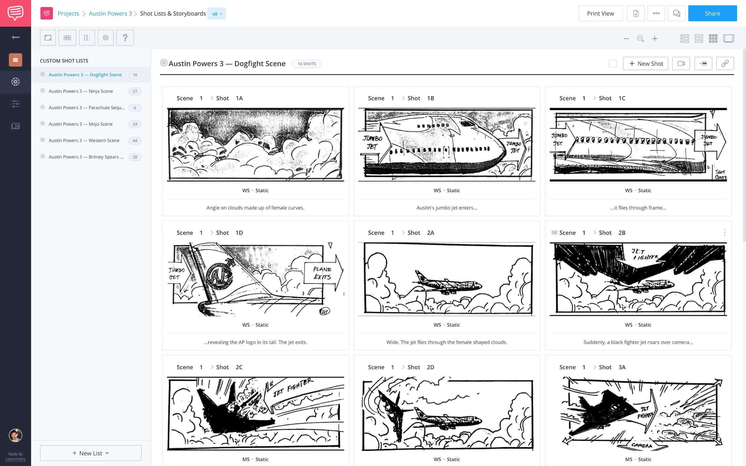 How to Shot List Faster in StudioBinder - Storyboard View - Studio Binder Shot Listing Software
