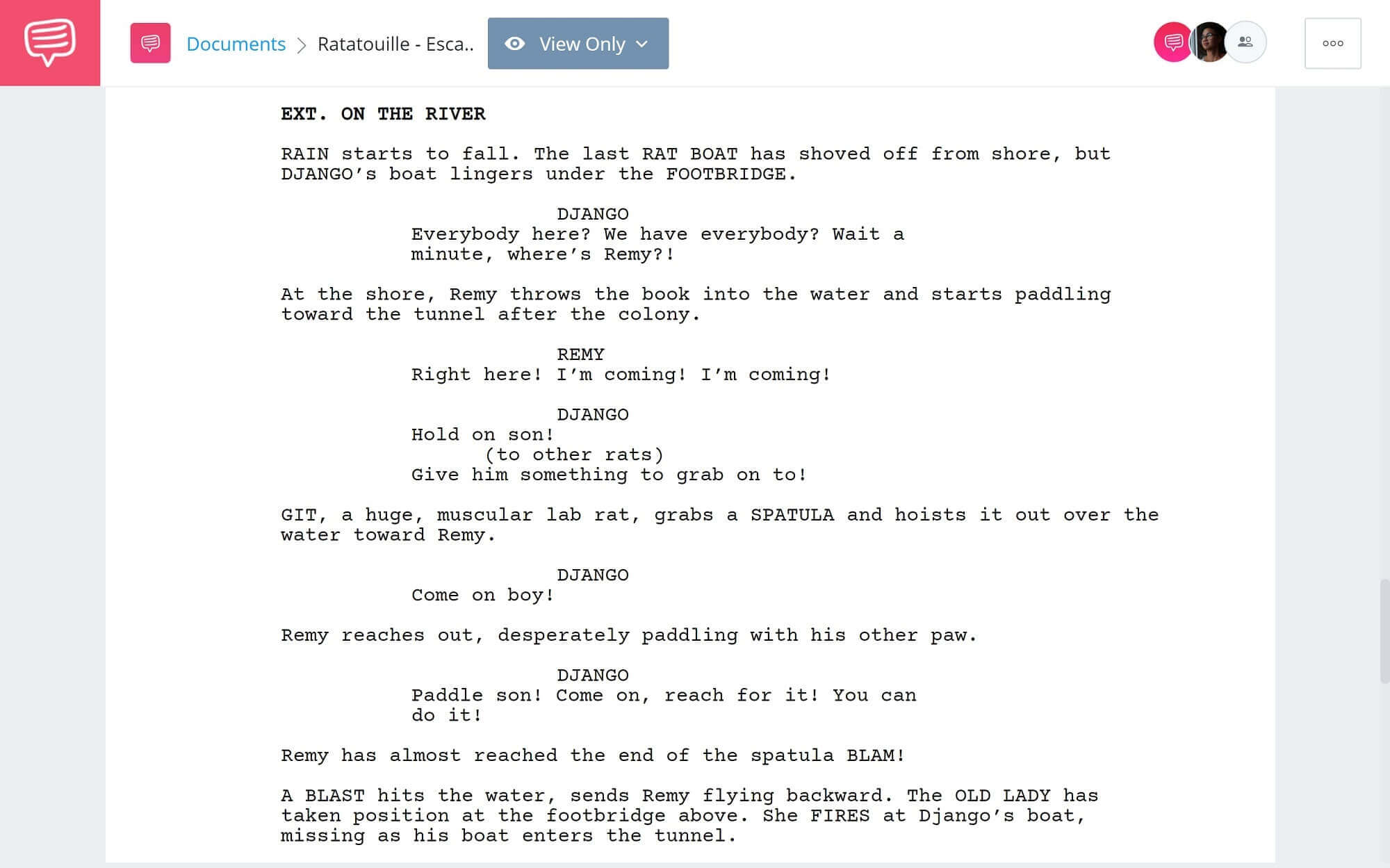 Ratatouille Script Teardown - Escape Scene - StudioBinder Scriptwriting Software
