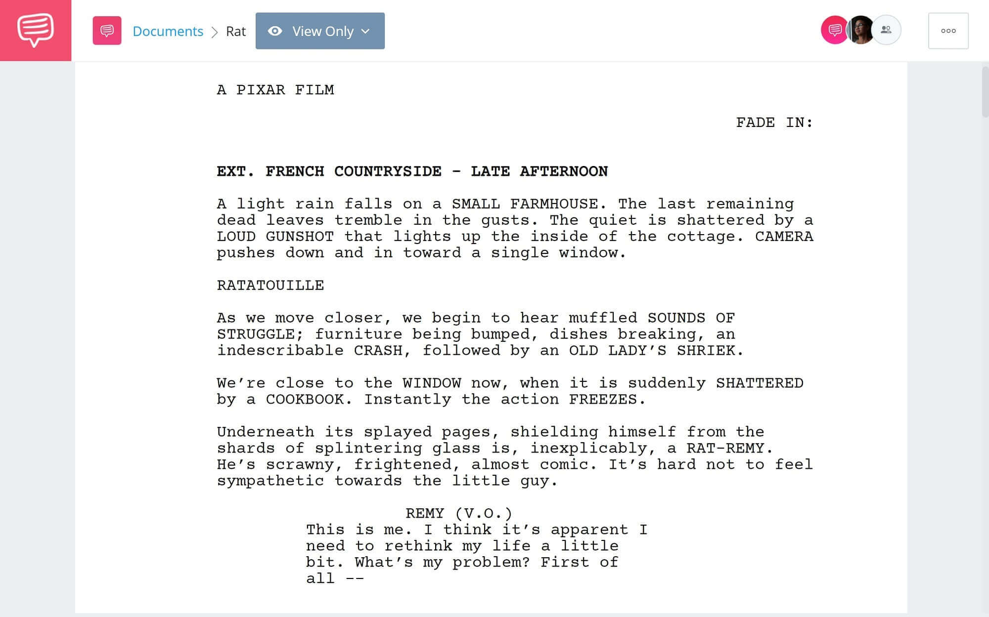 Ratatouille Script Teardown - Full Script PDF Download - StudioBinder Scriptwriting Software