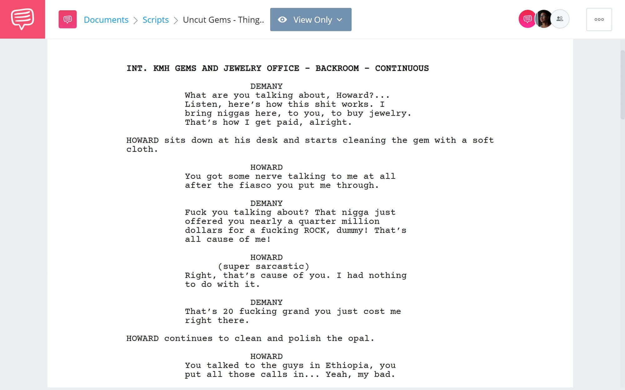 Uncut Gems Script Teardown - Things Get Worse for Howard Scene - Studiobinder Scriptwriting Software