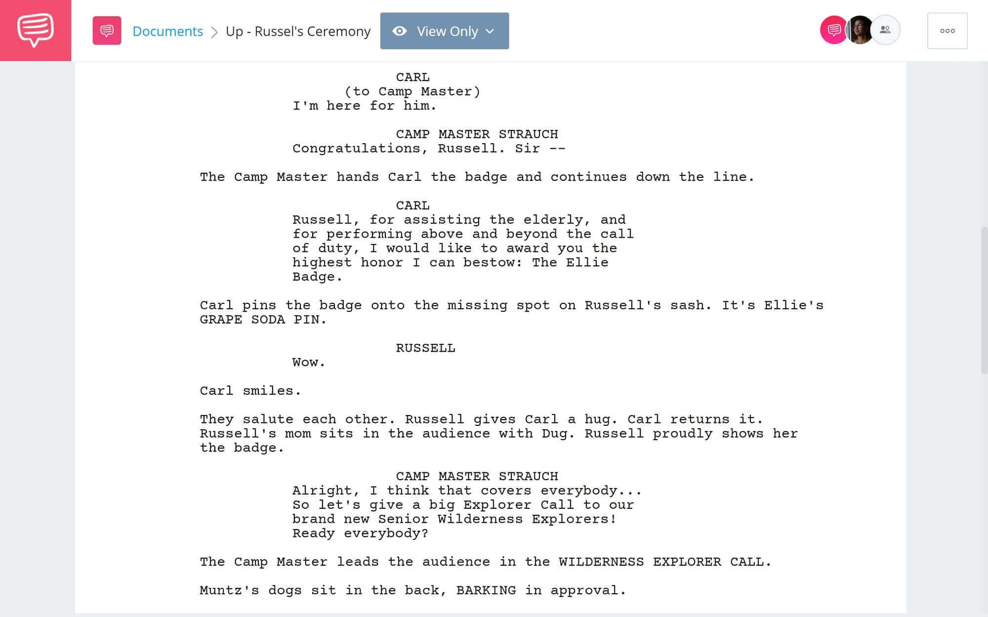 Up Movie Script Teardown - Russel's Awarding Ceremony - Studiobinder Scriptwriting Software