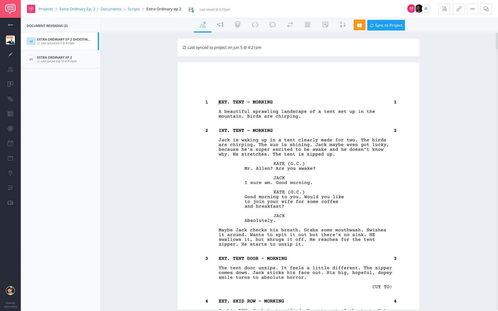 Documents Page - Screenwriting Page