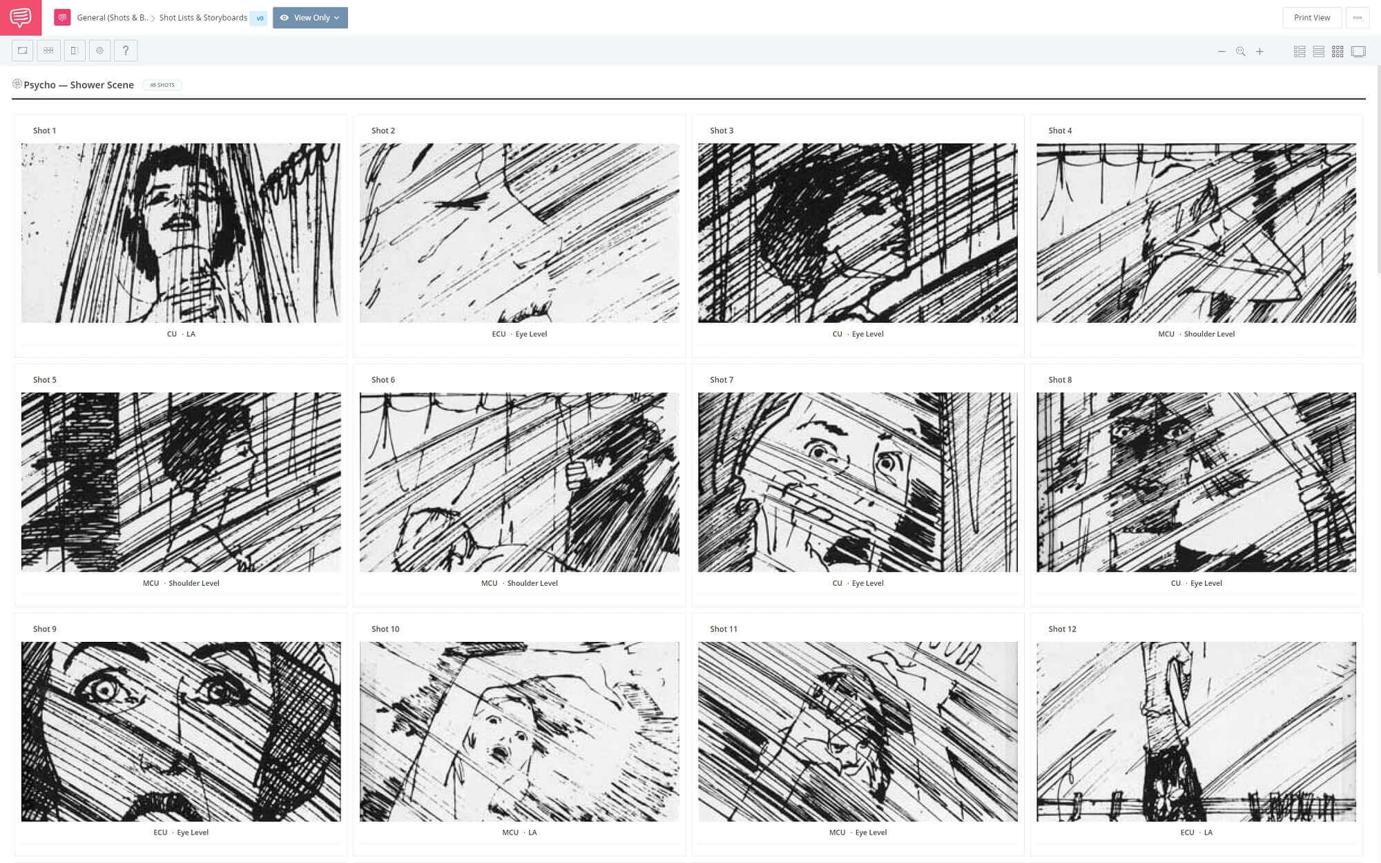 Film Storyboard Example - Psycho Storyboard - StudioBinder Storyboarding Software