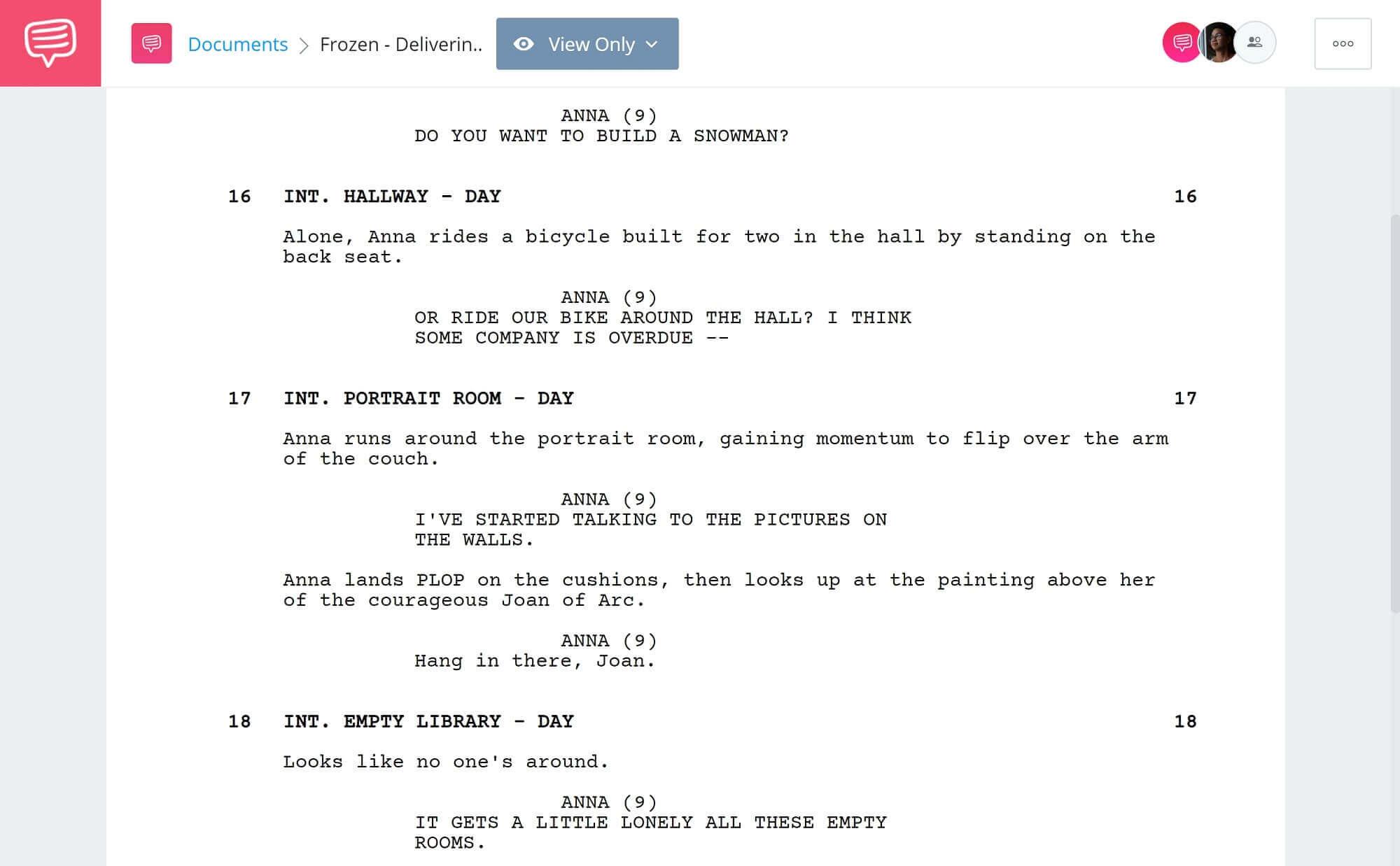 Frozen Script Teardown - Characters Delivering Exposition Scene - StudioBinder Scriptwriting Software