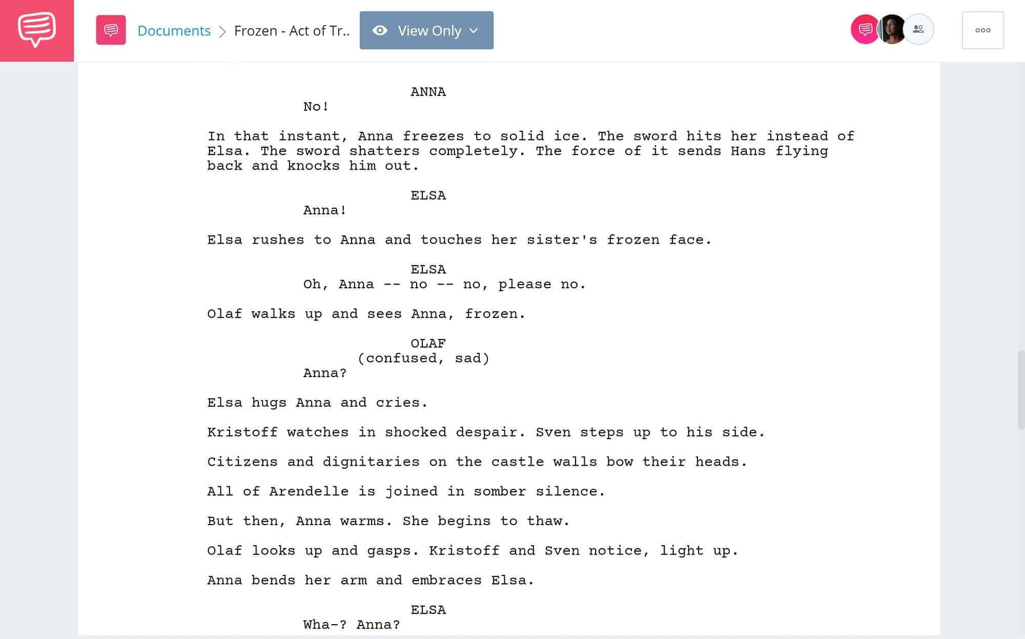 Frozen Script Teardown - Ending - StudioBinder Scriptwriting Software