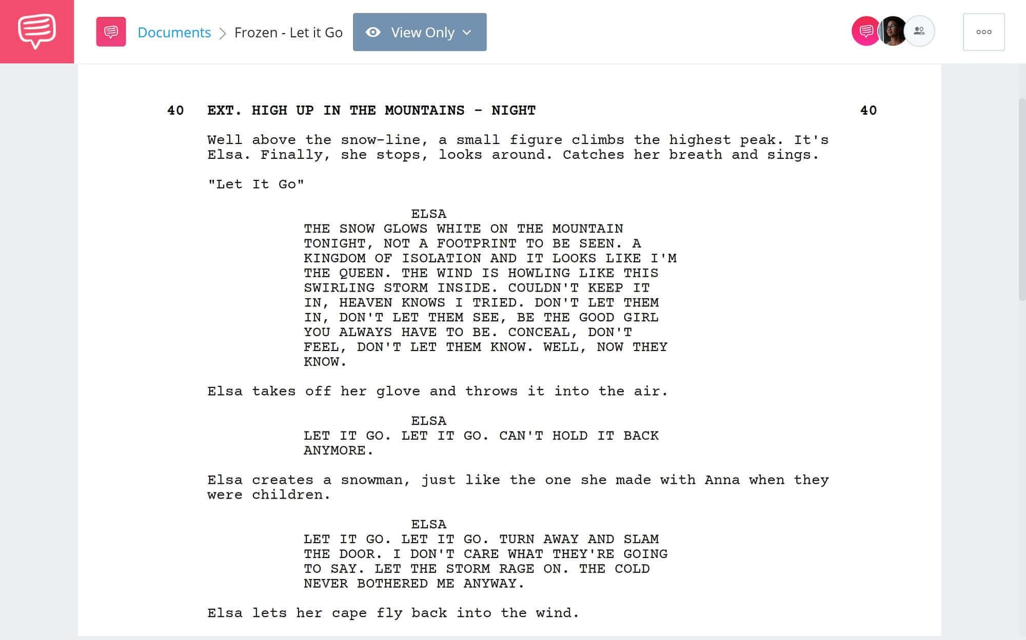 Frozen Script Teardown - Let It Go Scene - StudioBinder Scriptwriting Software