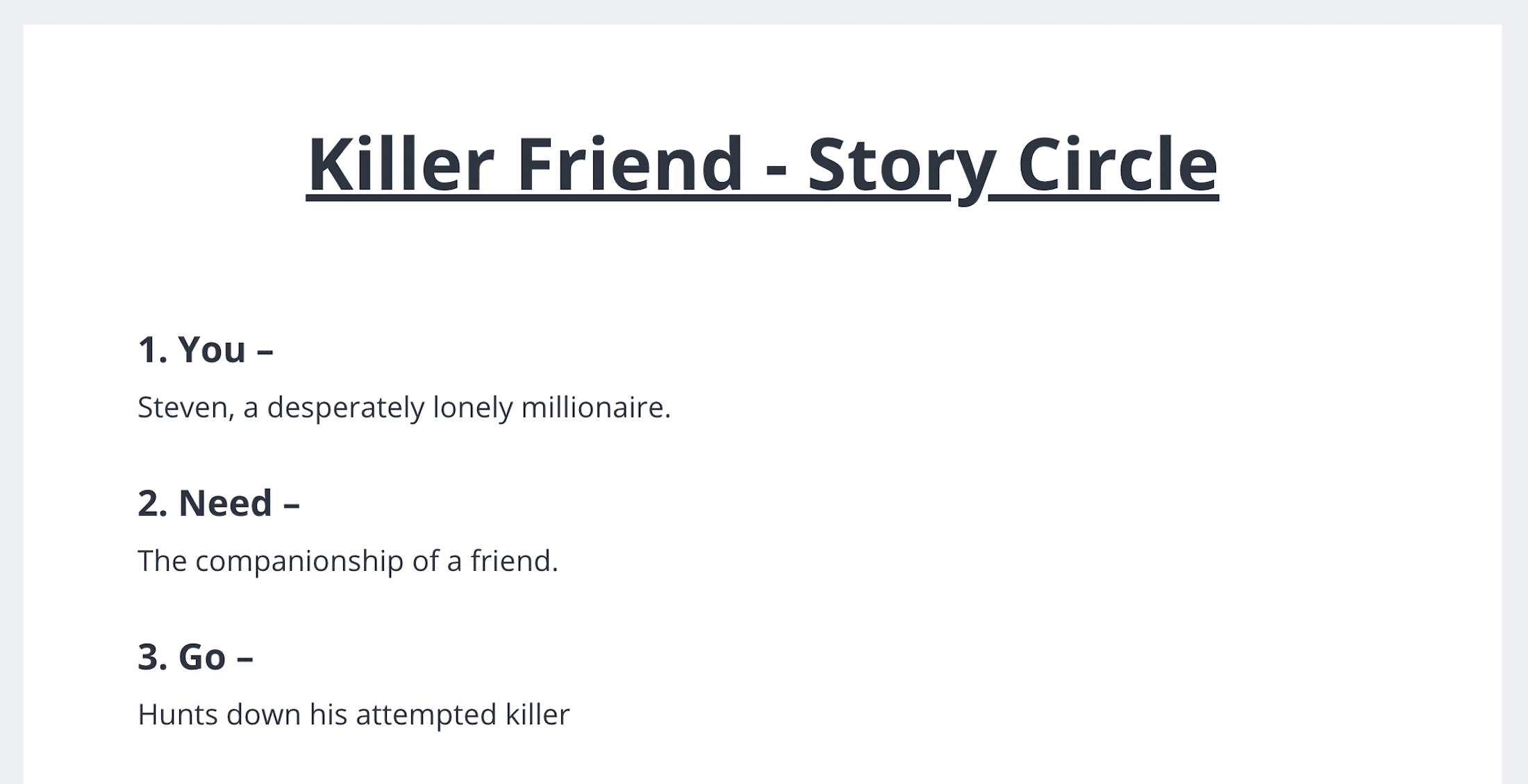 How to Brainstorm an Idea in StudioBinder - Story Circle Outline