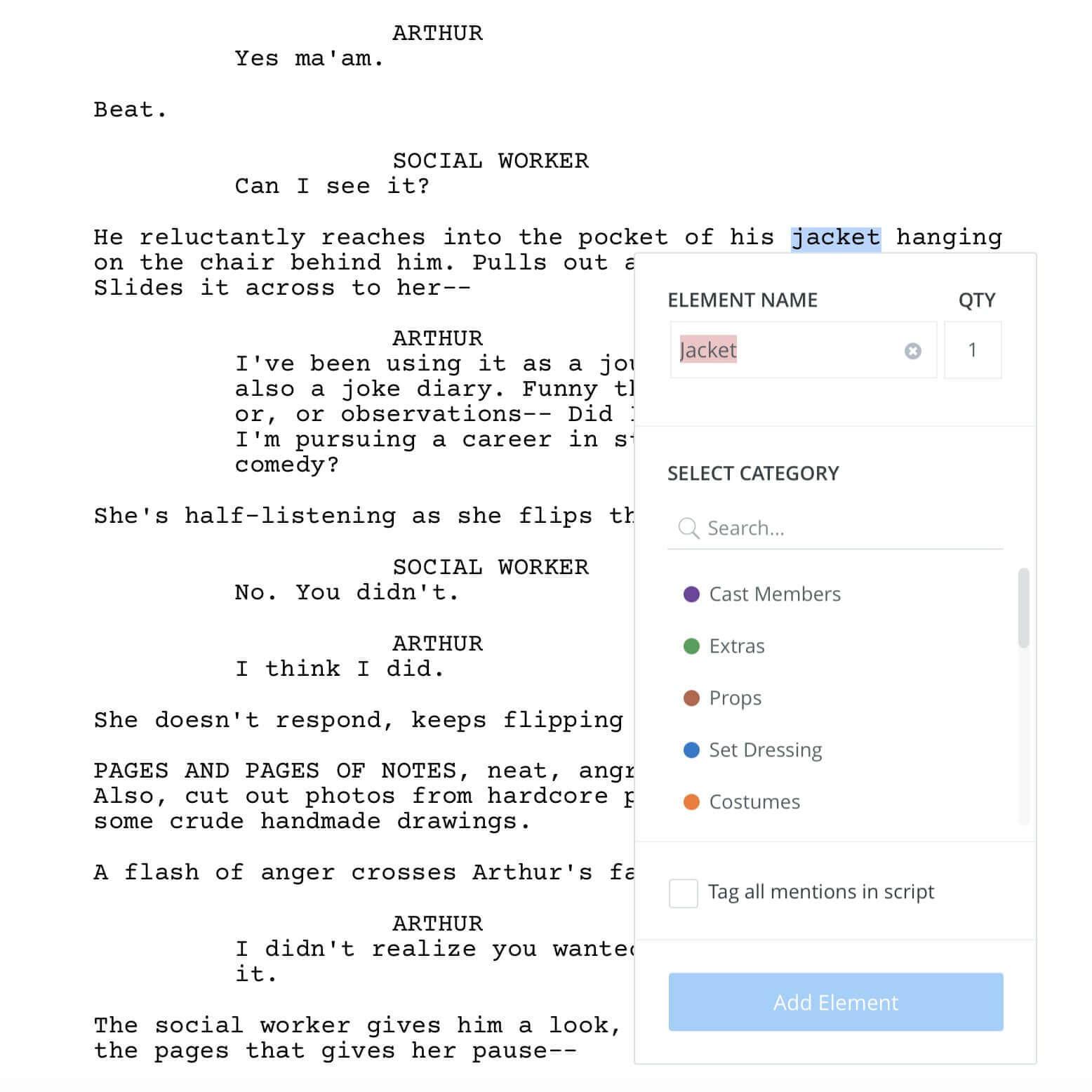 How to Break Down a Script for Wardrobe - Highlight the Scene Elementjpg