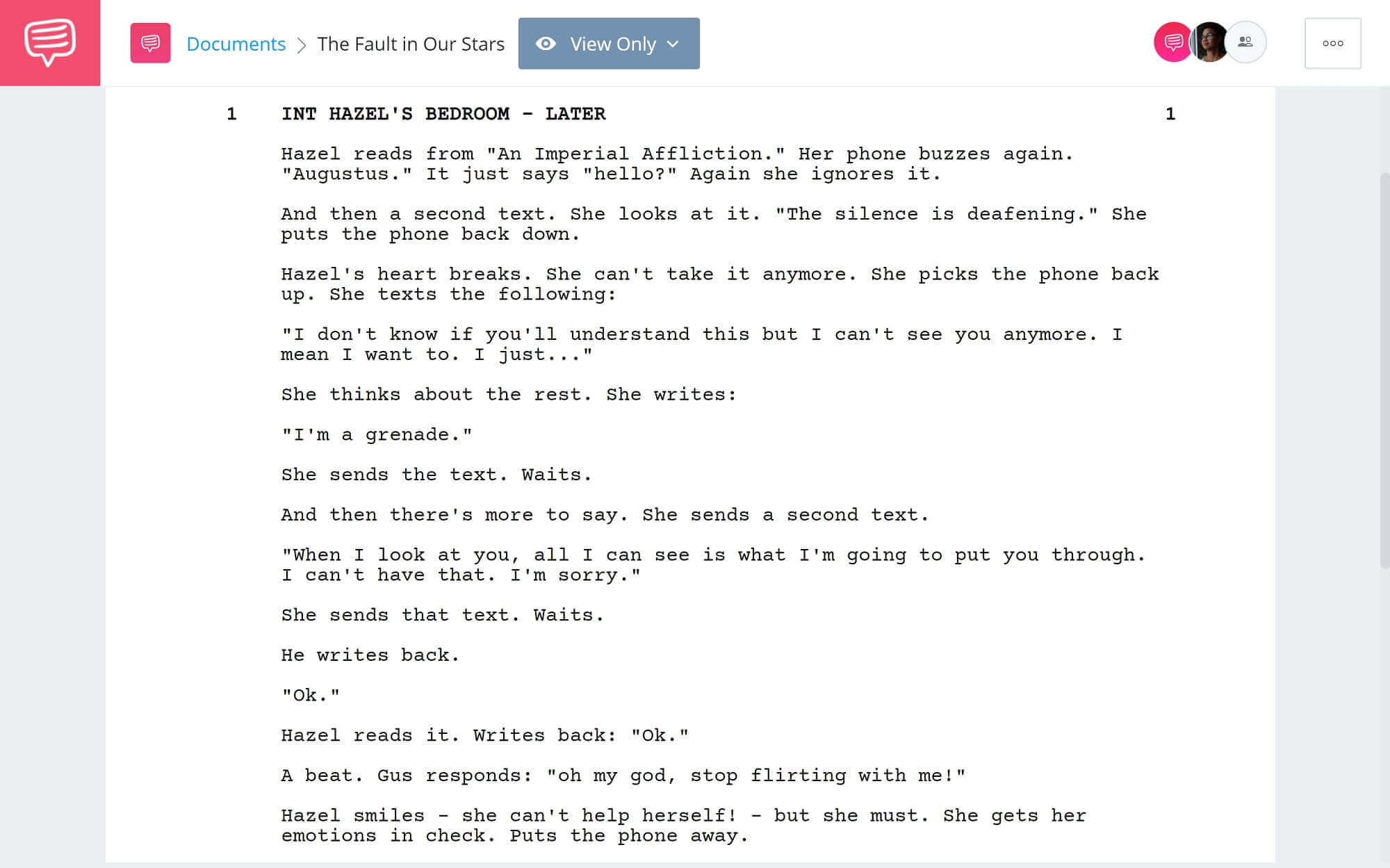 How to Write Text Messages in Screenplay - The Fault in Our Stars Example - StudioBinder Scriptwriting Software