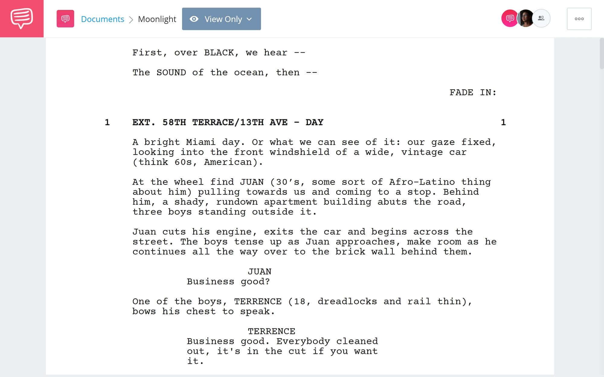 Moonlight Script Teardown - Full Script PDF Download - StudioBinder Screenwriting Software