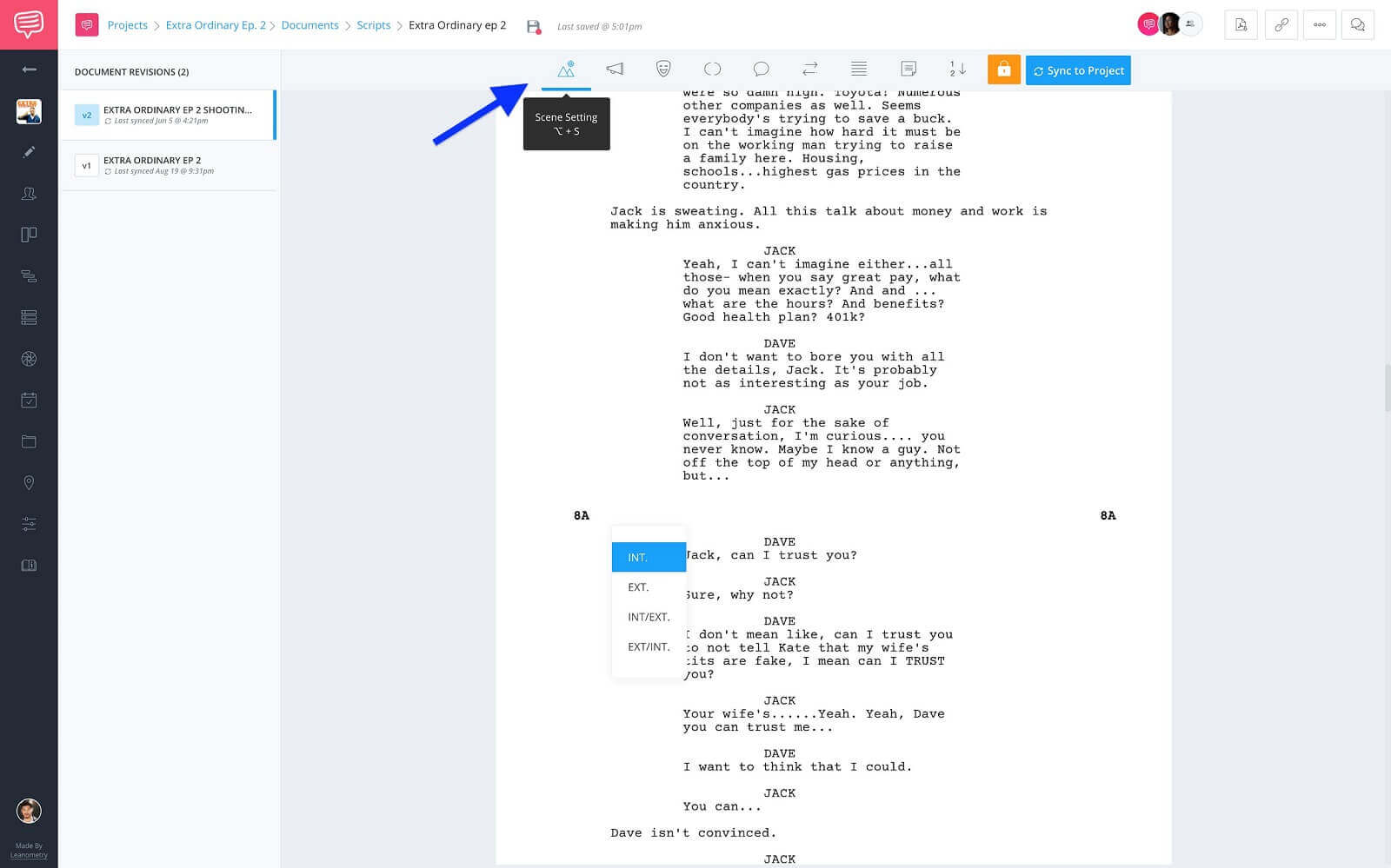 Screenwriting Format Elements Toolbar - Click Scene Heading