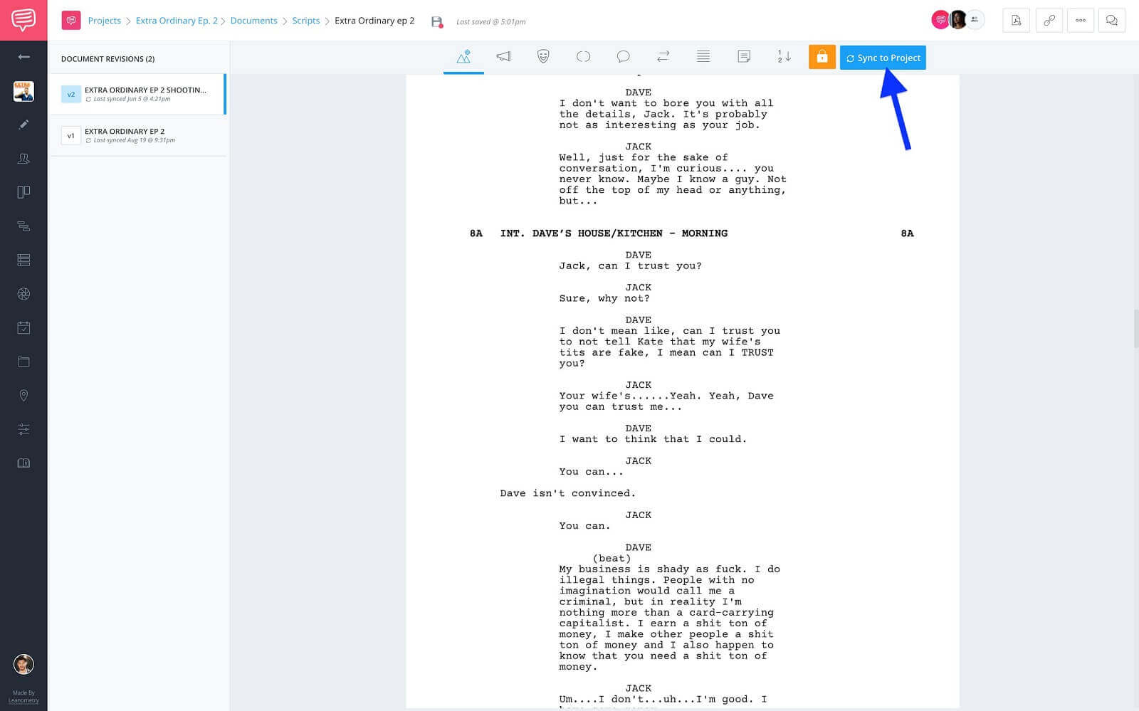 Screenwriting Page - Click Sync To Project