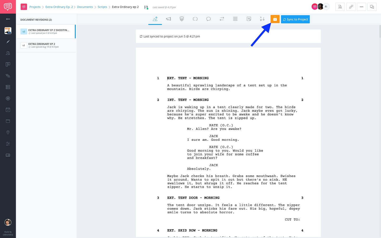 Screenwriting Page - Locked Script