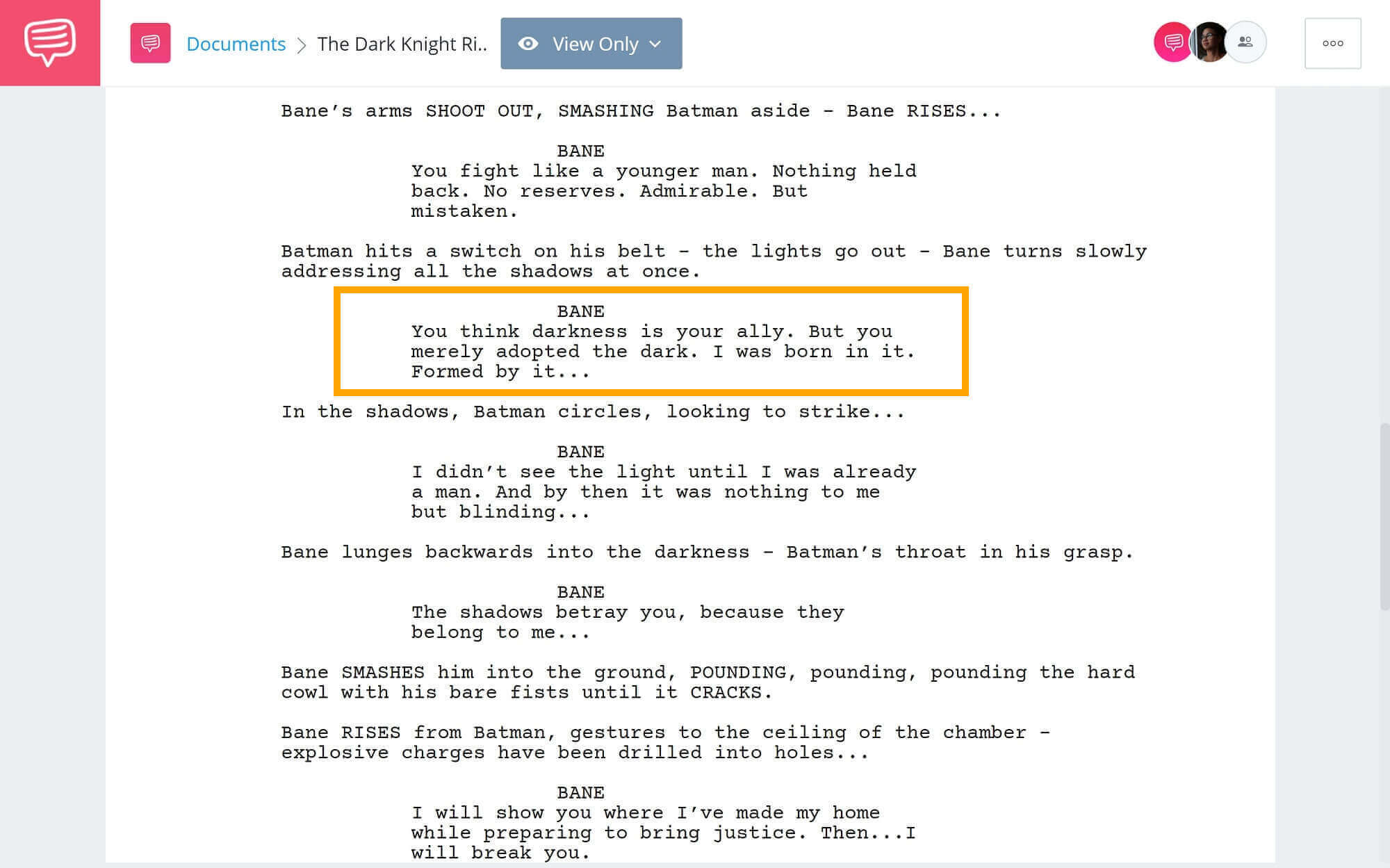 The-Best-Bane-Quotes-Born-in-the-Darkness-Scene-StudioBinder-Scriptwriting-Software