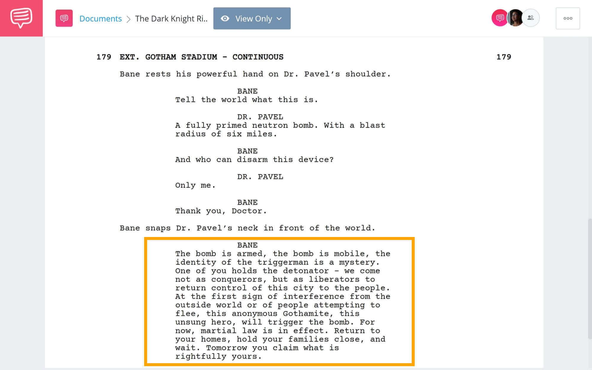 The-Best-Bane-Quotes-Stadium-Speech-Scene-StudioBinder-Scriptwriting-Software