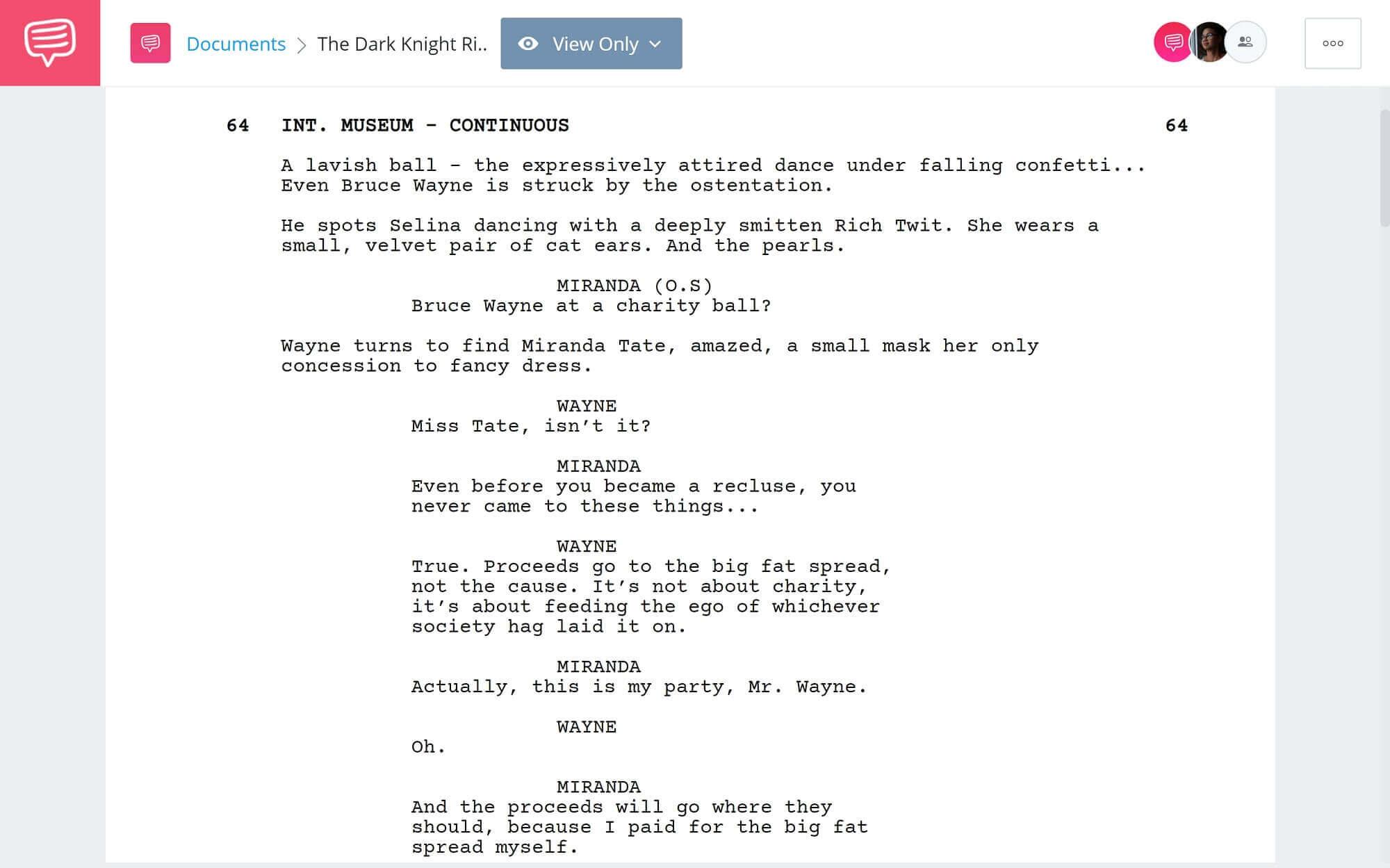 The Dark Knight Rises Script Teardown - Ballroom Scene - StudioBinder Scriptwriting Software