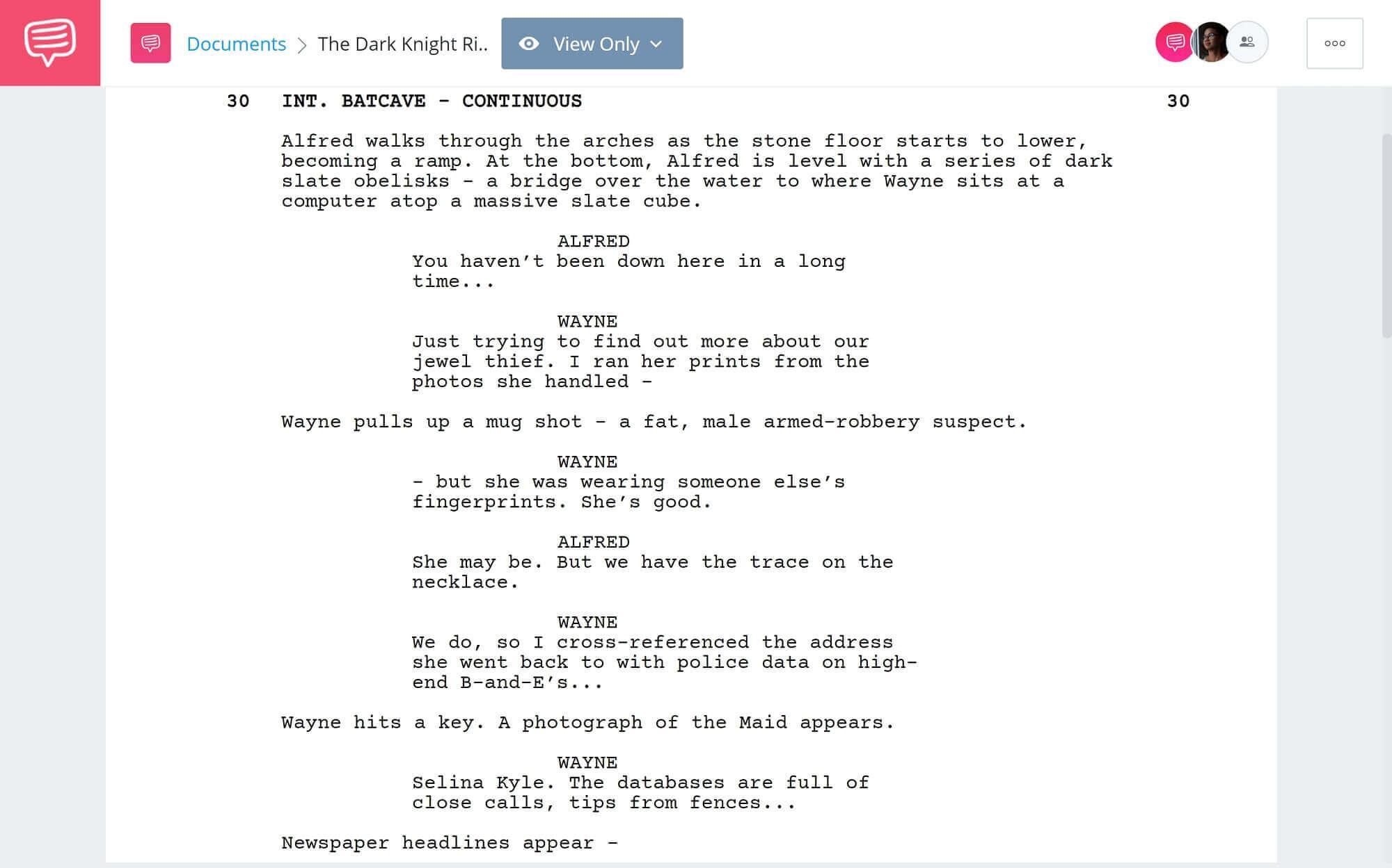 The Dark Knight Rises Script Teardown - Cafe Dream Scene - StudioBinder Scriptwriting Software