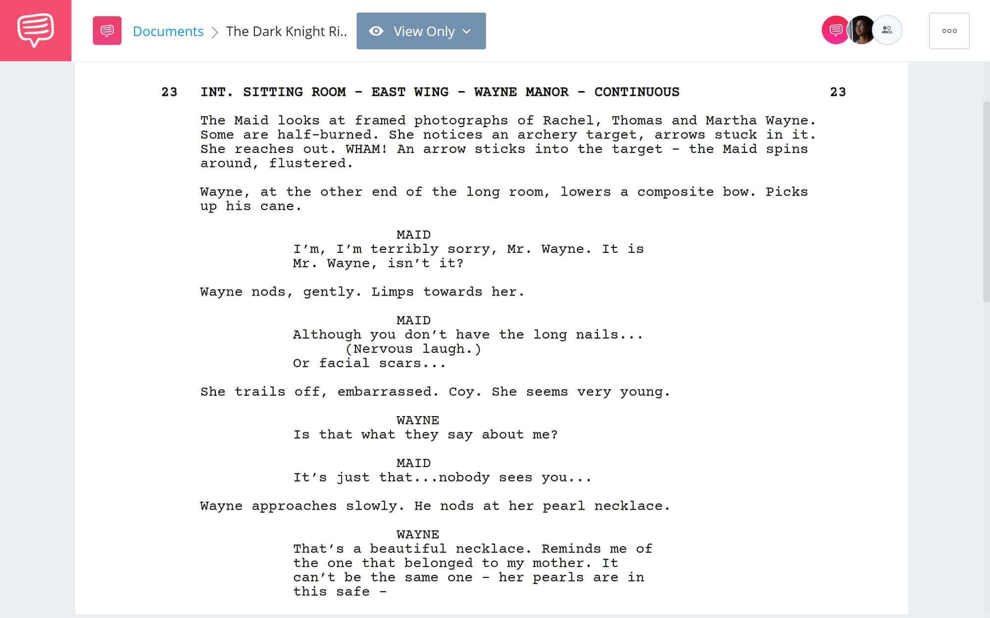 The Dark Knight Rises Script Teardown - Catwoman's Introduction Scene - StudioBinder Scriptwriting Software