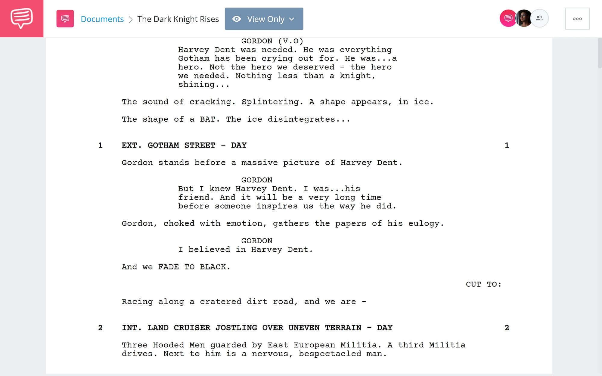 The Dark Knight Rises Script Teardown - Full Script PDF Download - StudioBinder Scriptwriting Software