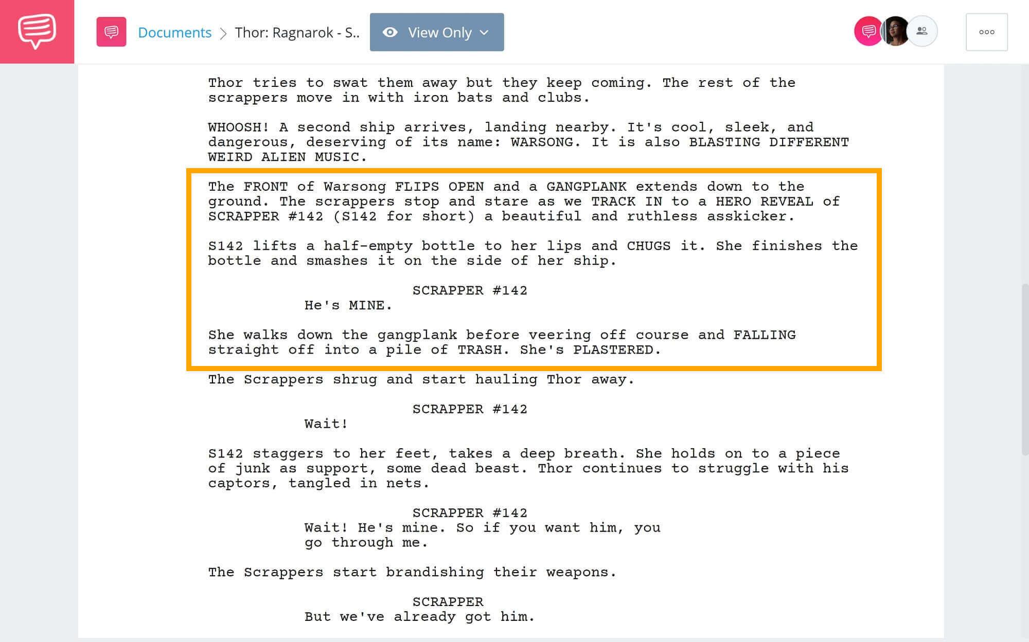 Thor-Ragnarok-Script-Teardown-Series-Scrapper-142-StudioBinder-Scriptwriting-Software