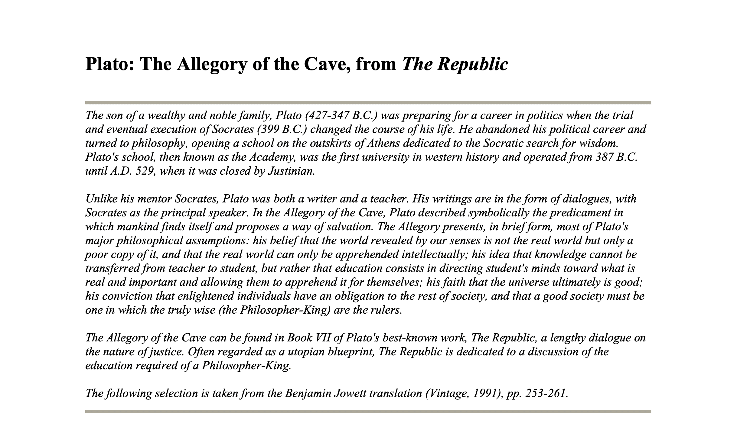 What is Plato's Allegory of the Cave PDF Download - Definition