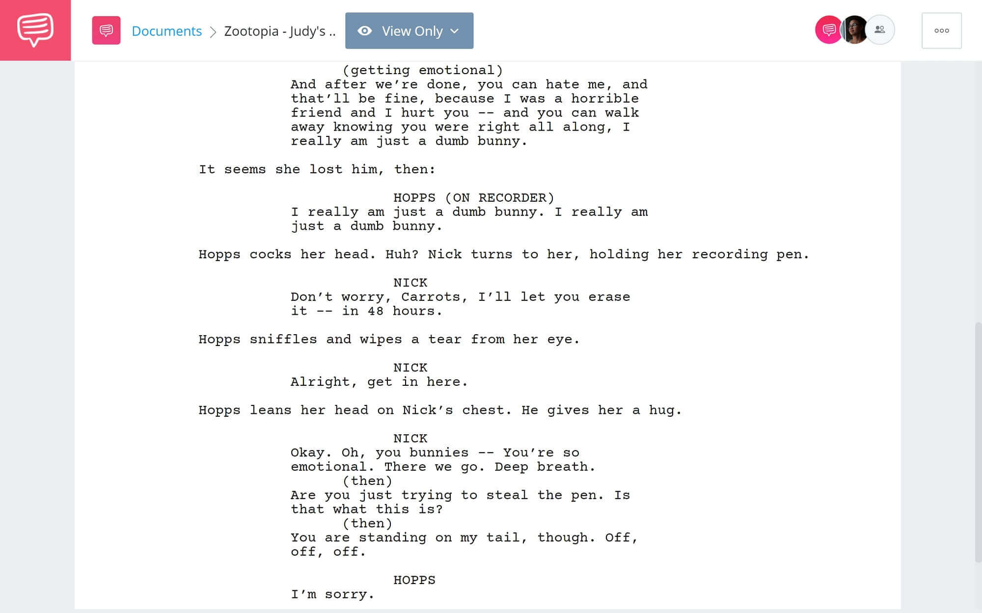 Zootopia Script Teardown - Judy's Apology Scene - StudioBinder Screenwriting Software