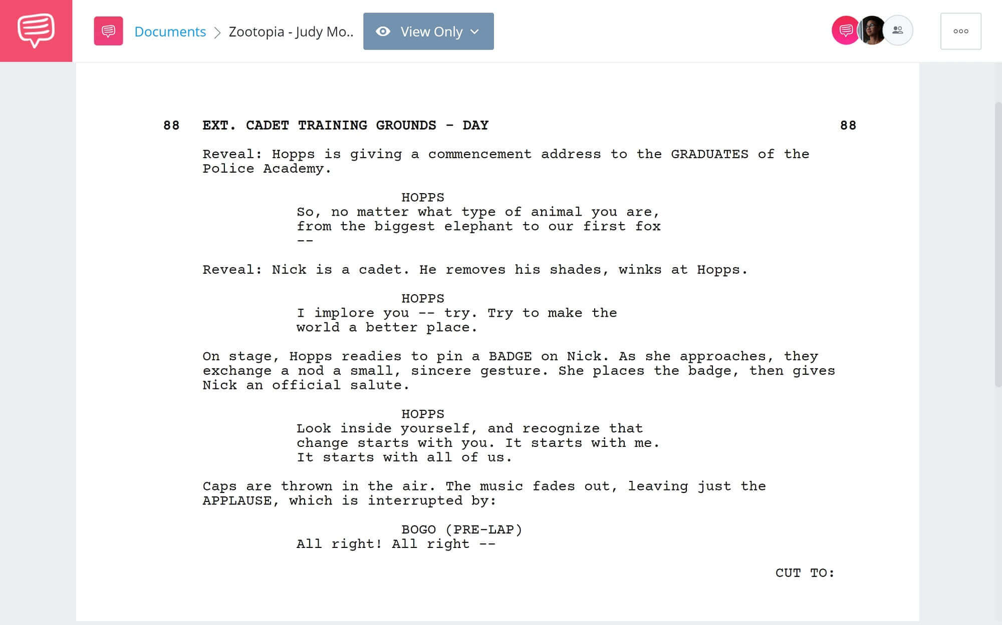 Zootopia Script Teardown - Judy's Monologue Scene - StudioBinder Screenwriting Software