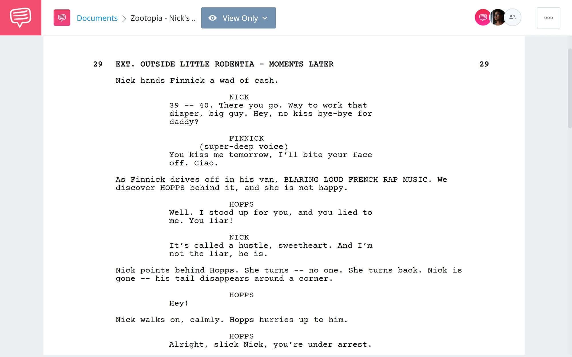 Zootopia Script Teardown - Nick's Hustle Scene - StudioBinder Screenwriting Software