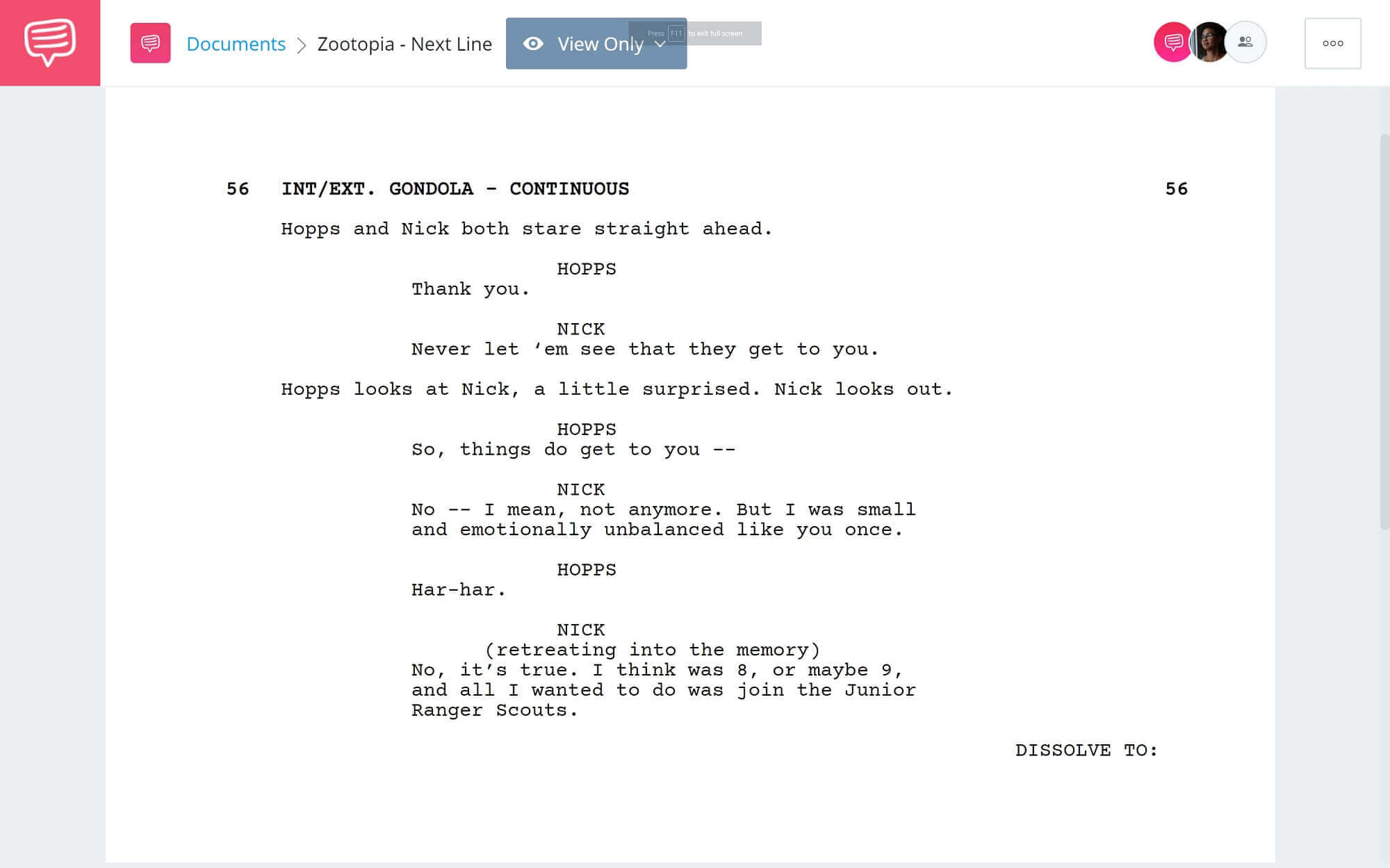 Zootopia Script Teardown - Nick's Line Scene - StudioBinder Screenwriting Software