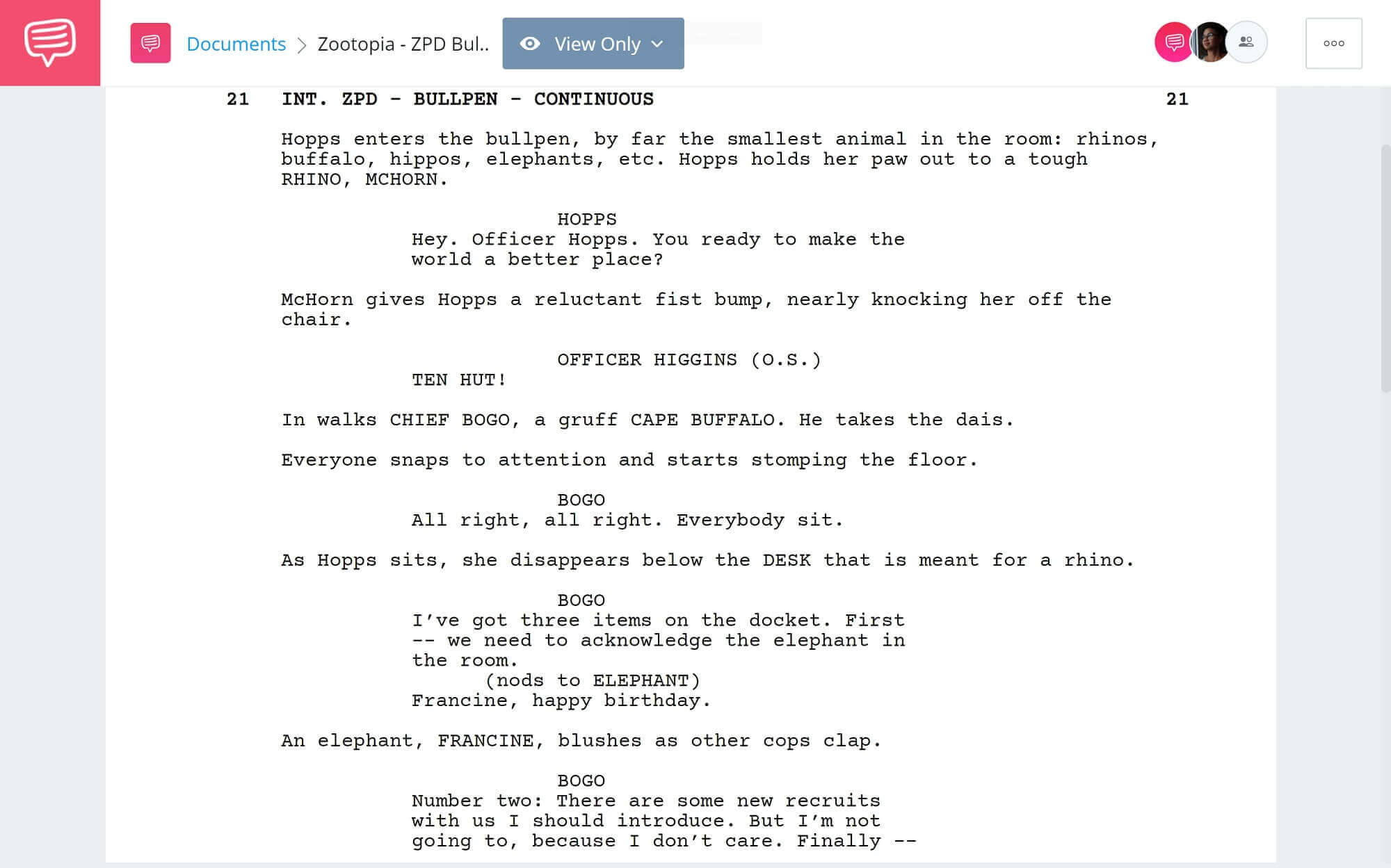 Zootopia Script Teardown - ZPD Bullpen Scene - StudioBinder Screenwriting Software