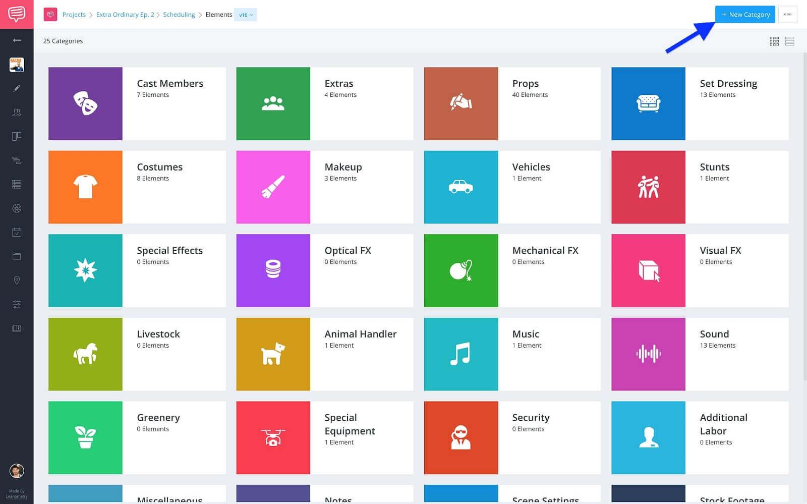 Breakdown Element Categories - Click +New Element