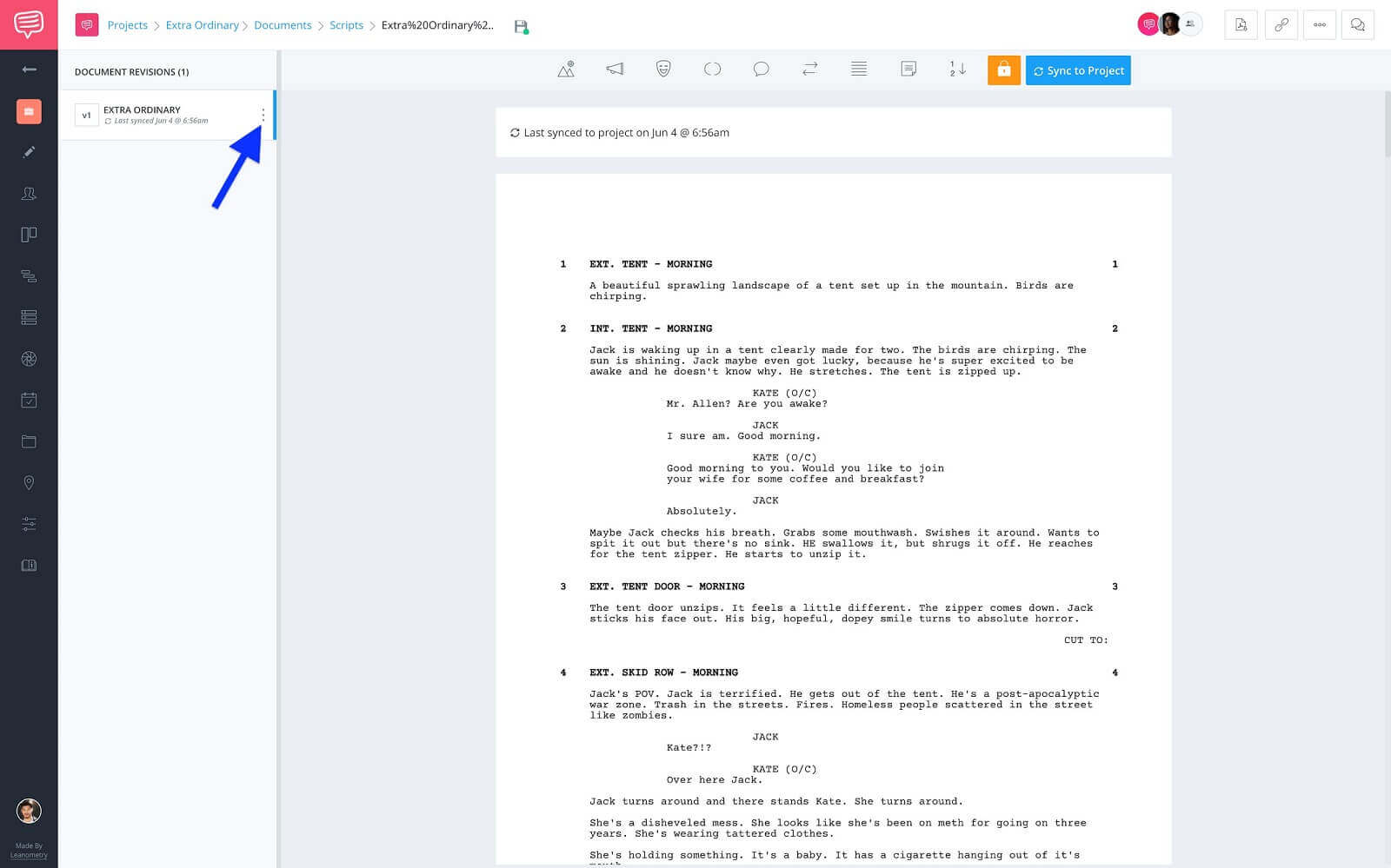 Document Revision Sidebar - Click More Button