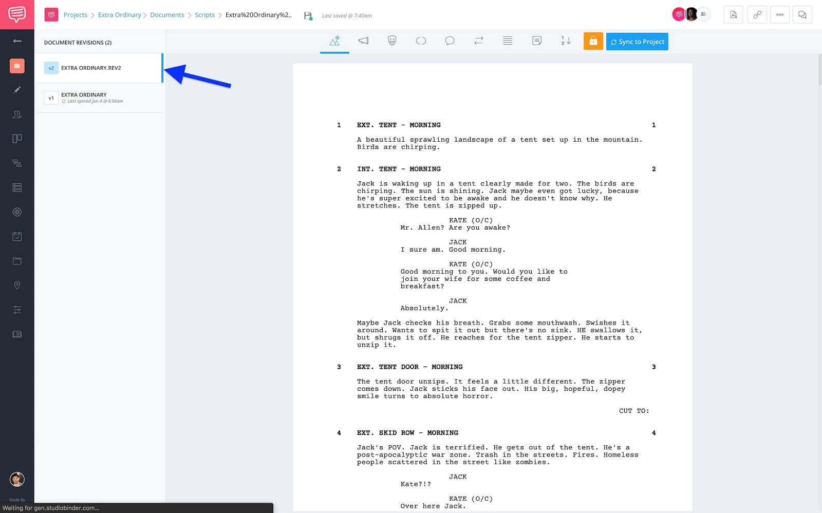 Document Version Sidebar - New Version