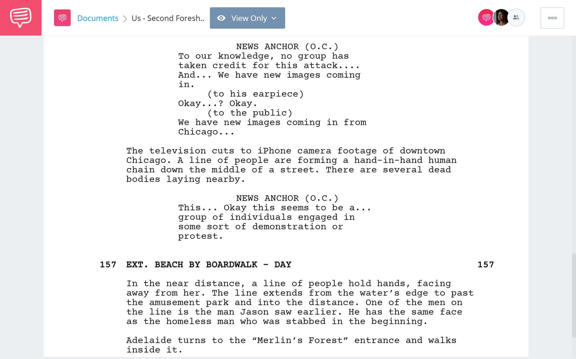Foreshadowing Example - Us Second Example - StudioBinder Screenwriting Software