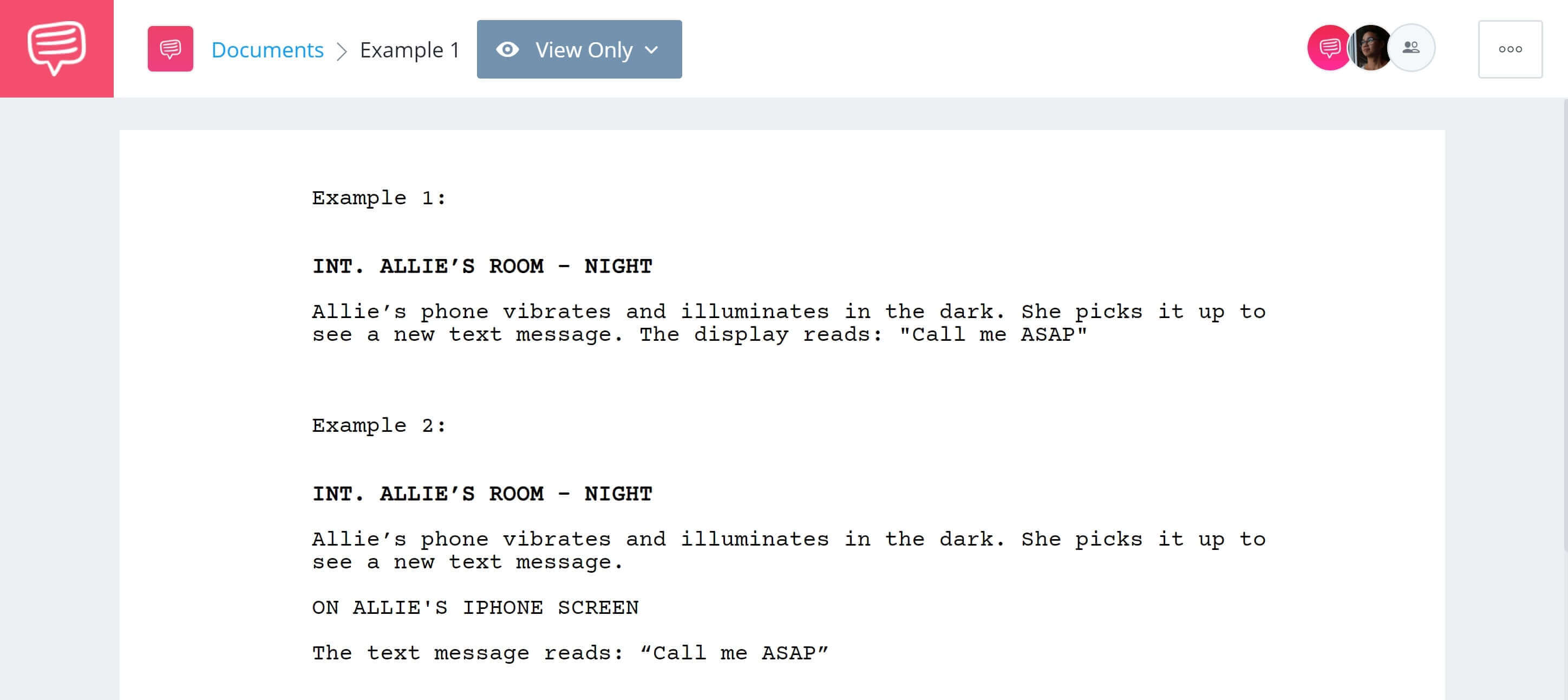 How To Write TExt Messages in Screenplay - First Two Examples - StudioBinder Screenwriting Software