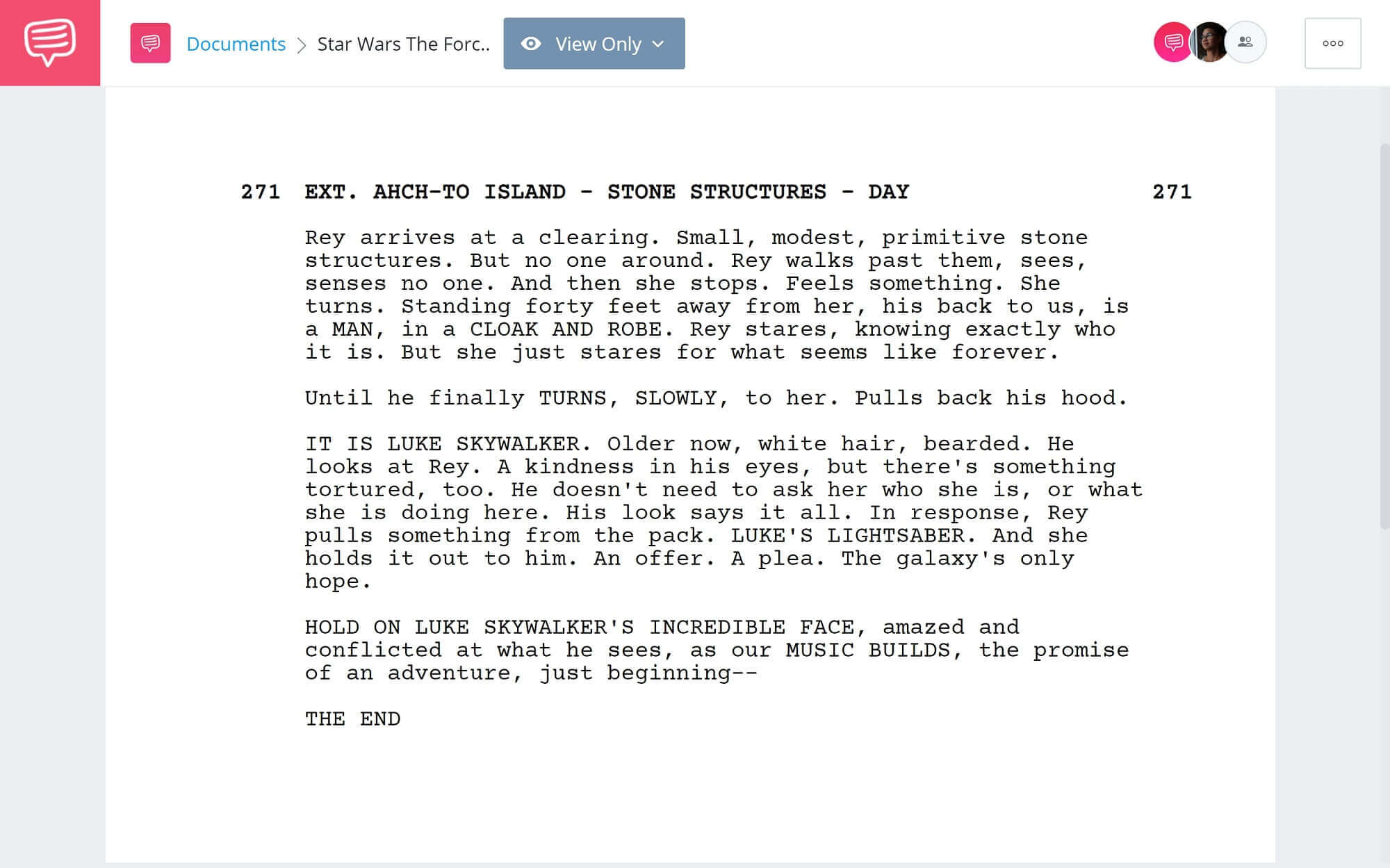How to End Screenplay - Star Wars The Force Awakens Example - StudioBinder Screenwriting Software