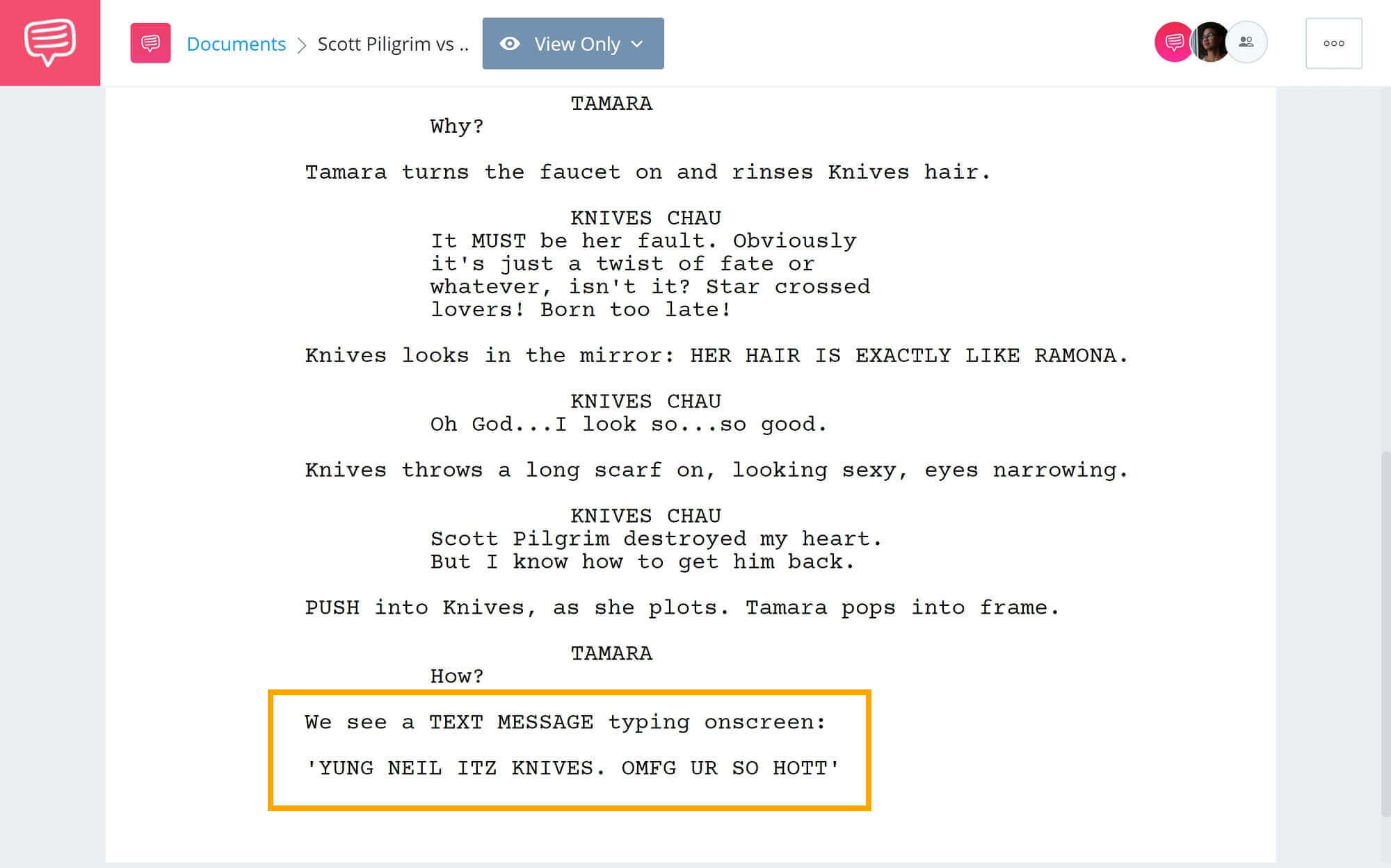How-to-Write-Text-Messages-in-Screenplay-Example from Scott and Piligrim-StudioBinder-Scriptwriting-Software (1)