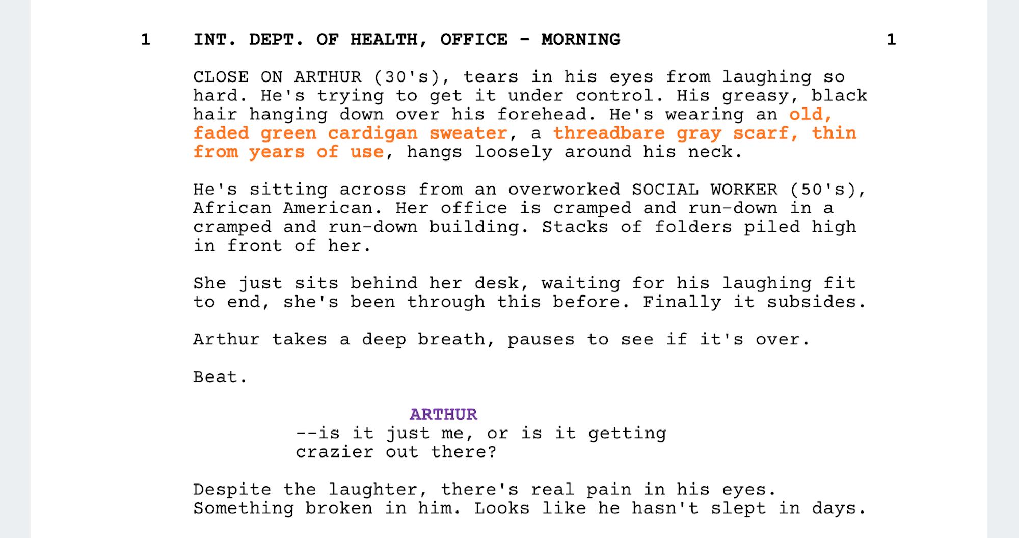 Joker Costume Design - Script Breakdown