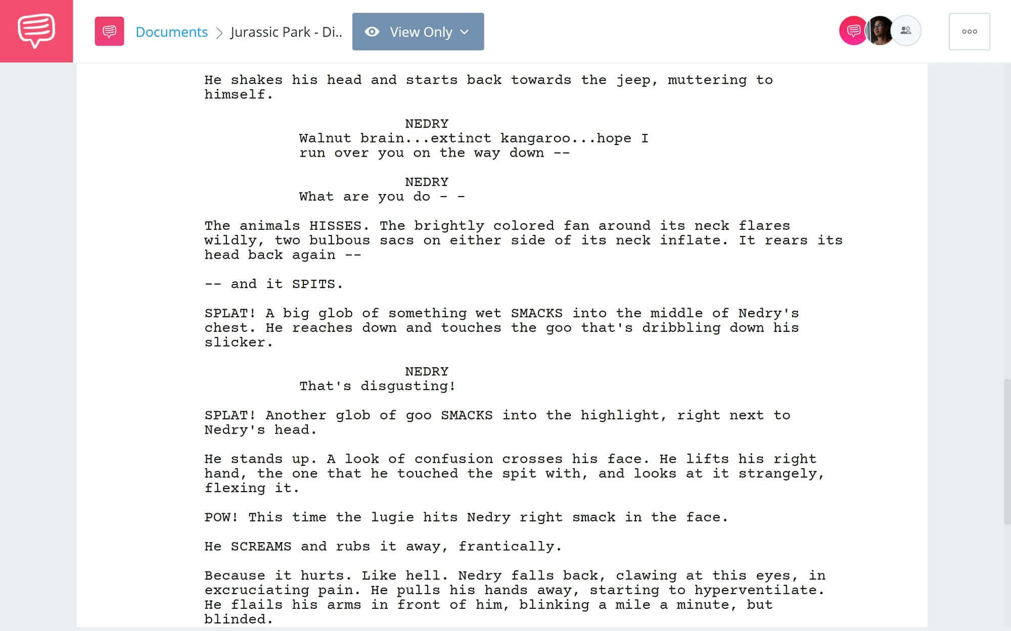 Jurassic Park Script Teardown - Dilophasarus Attacks - StudioBinder Screenwriting Software