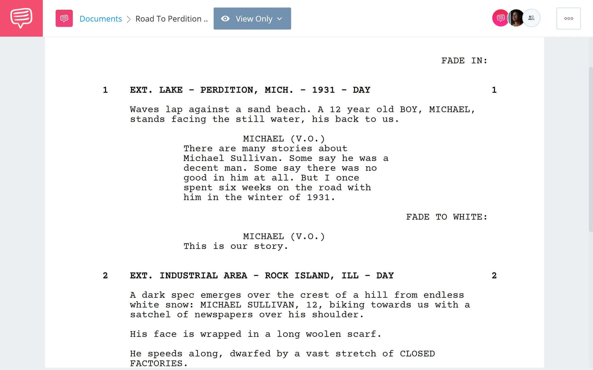 Road to Perdition Revisited - First Scene - StudioBinder Screenwriting Software