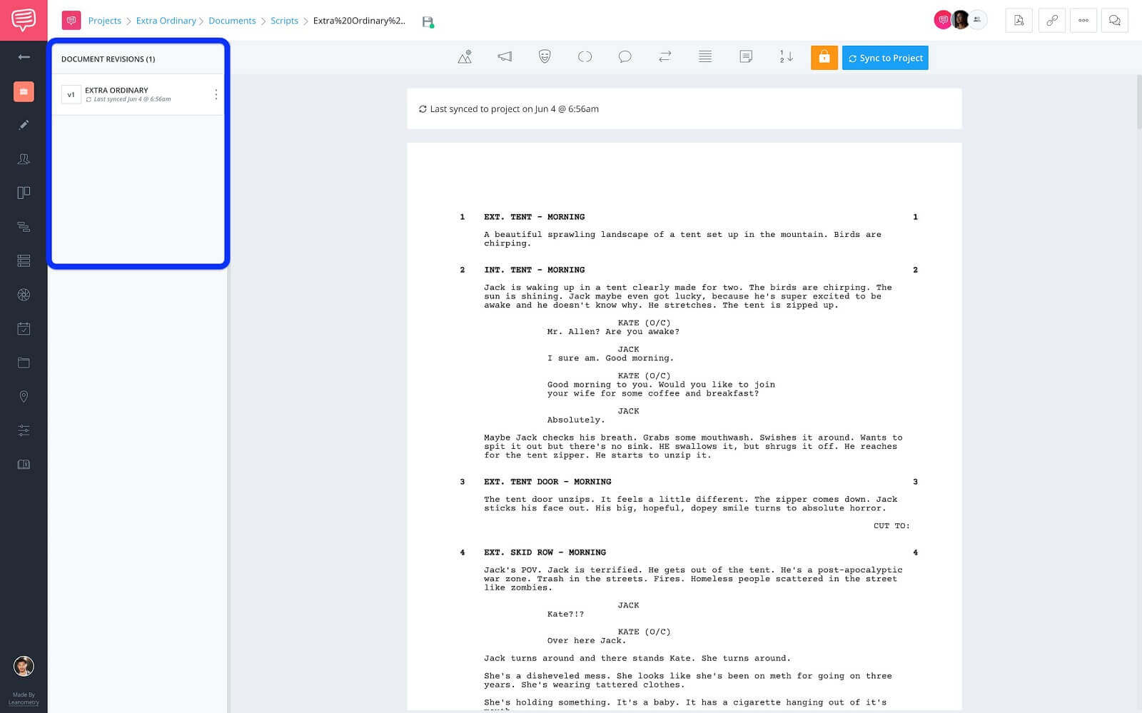 Screenwriting Page - Document Revision Sidebar