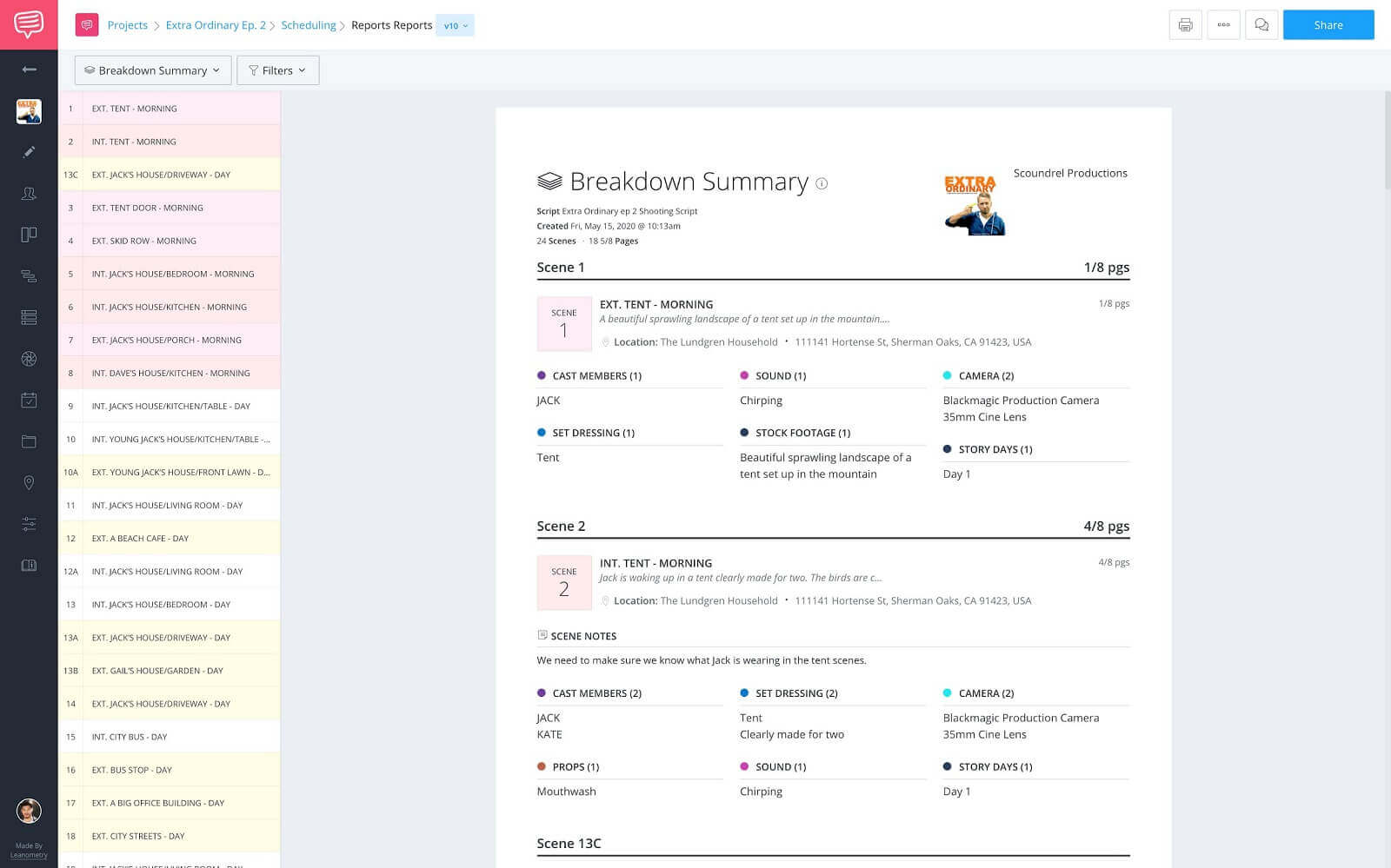 StudioBinder Reports Page - Fully Populated Breakdown Summary