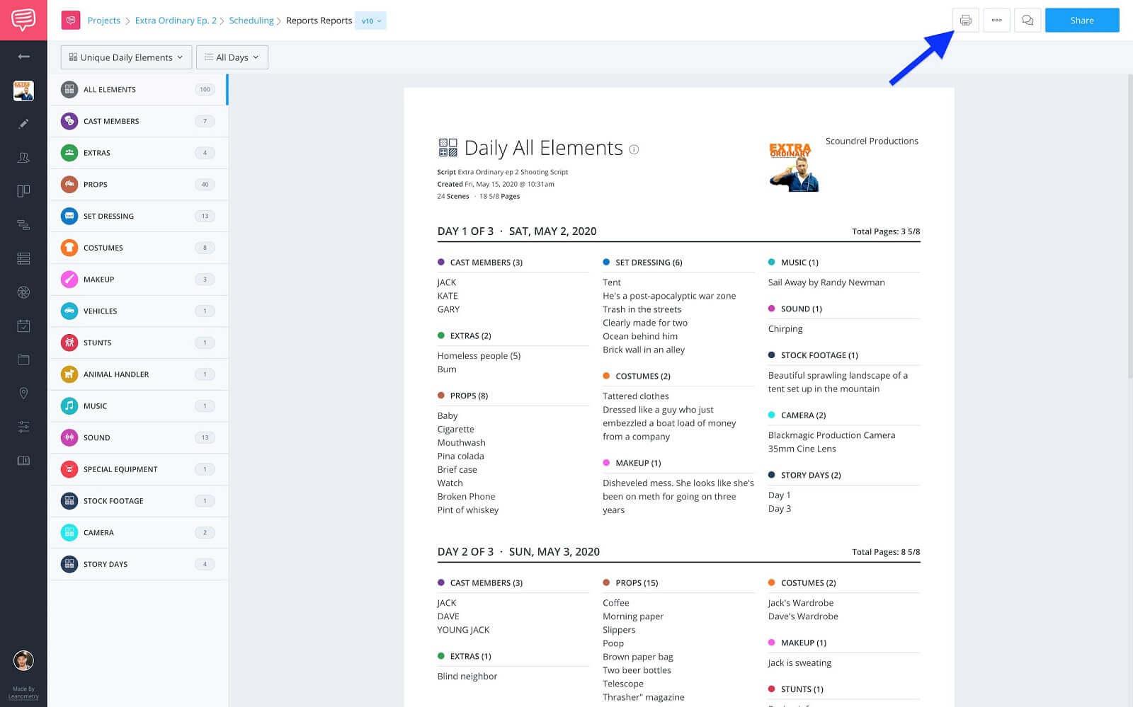 Unique Daily Elements Report - Click print on toolbar