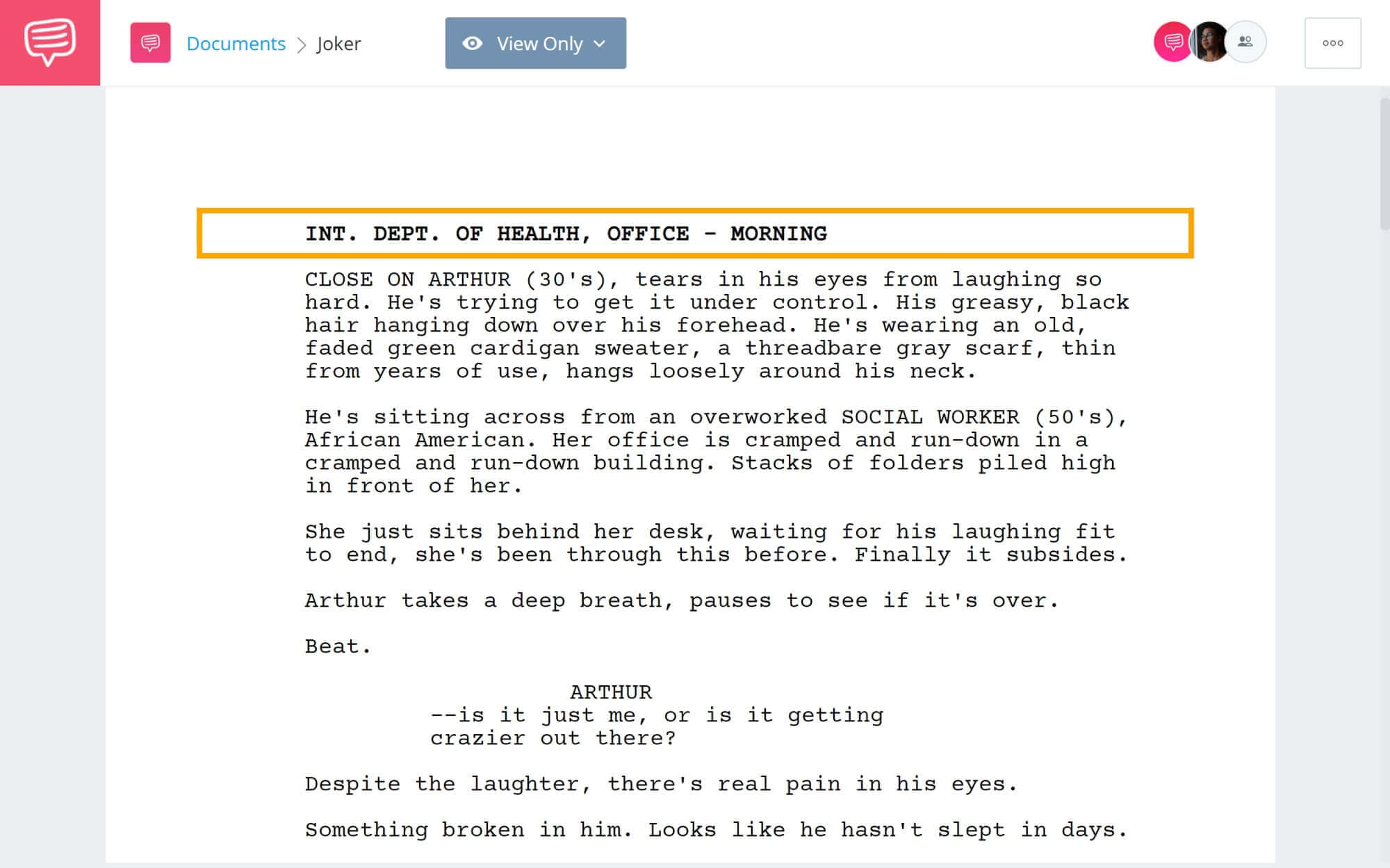 What is Gaffer - Slug-lines Example in Joker - StudioBinder Screenwriting Software (1)